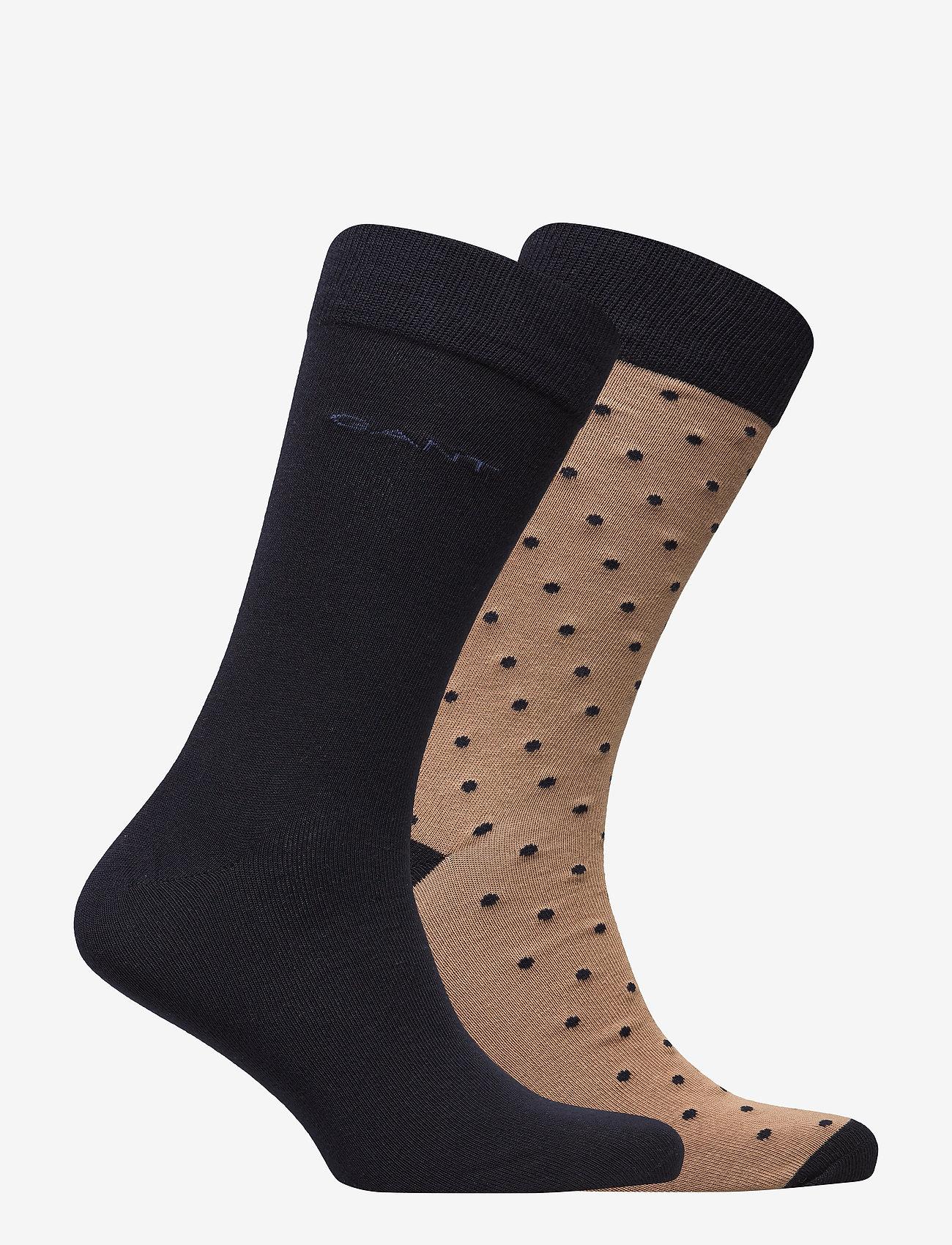 GANT - 2-PACK SOLID AND DOT SOCKS - chaussettes régulières - warm khaki - 1