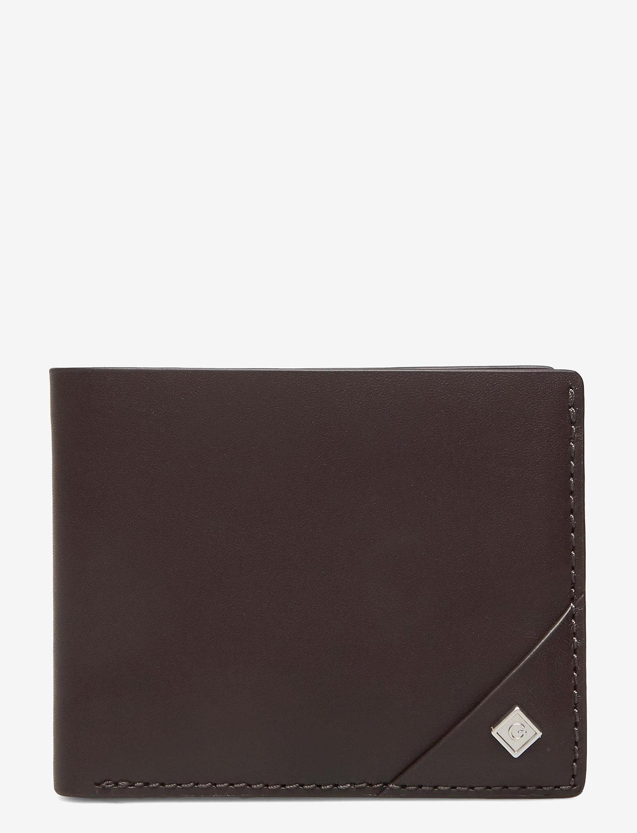 GANT - D1. LEATHER WALLET - wallets - black coffee - 0