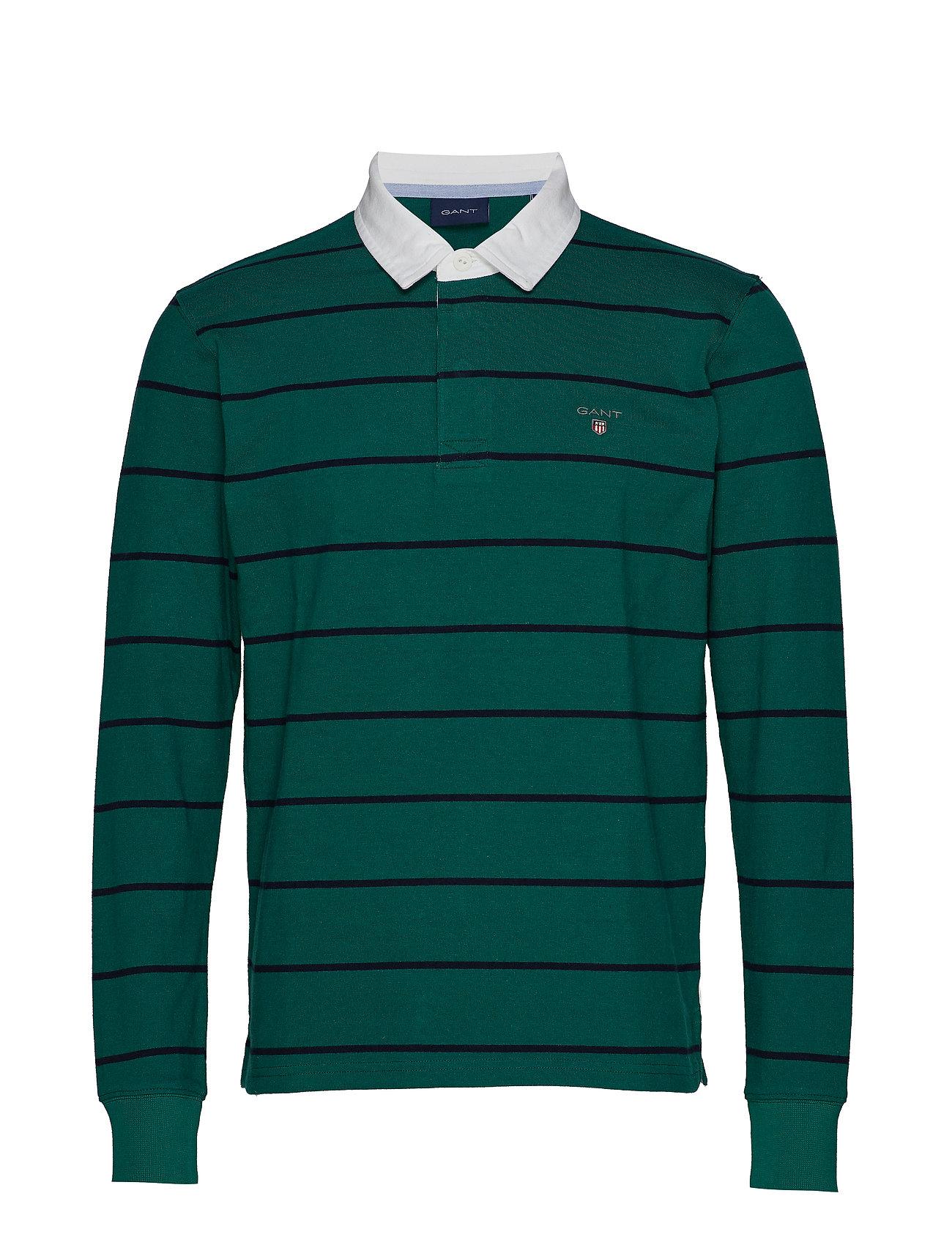 Smu Breton Stripe Heavy Rugger Poloshirt Langærmet Grøn GANT