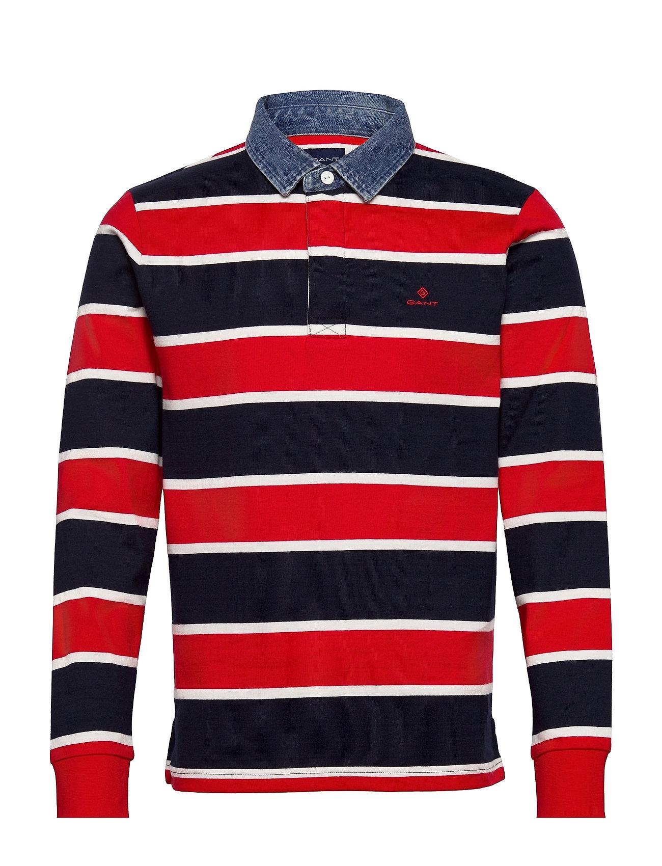 D2. Denim Collar Ls Rugger Polos Long-sleeved Rød GANT