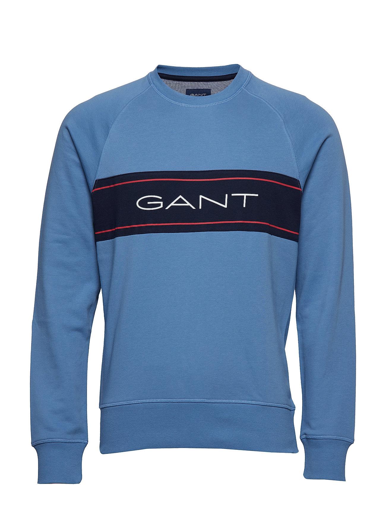 GANT O1.GANT ARCHIVE STRIPE C-NECK SWEAT - MID BLUE