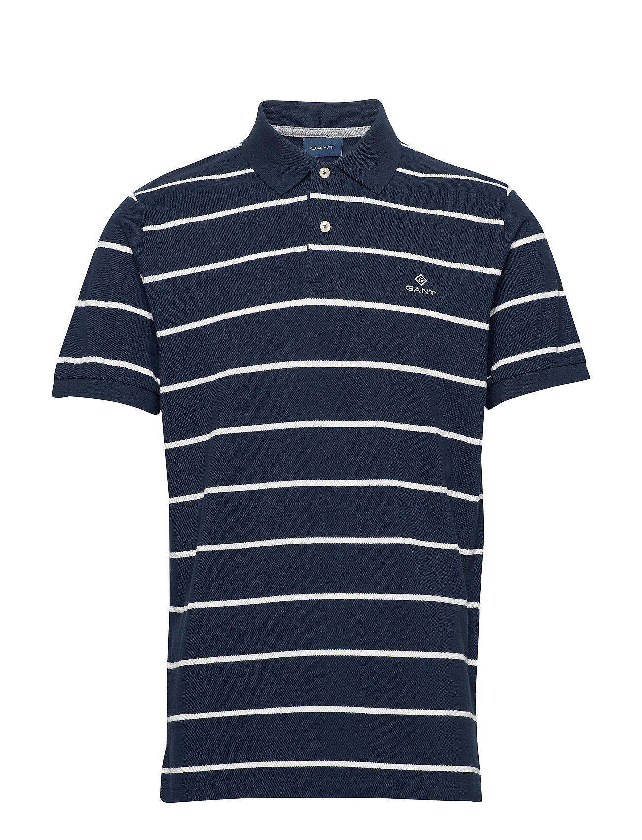 Gant BRETON STRIPE PIQUE SS RUGGER - EVENING BLUE