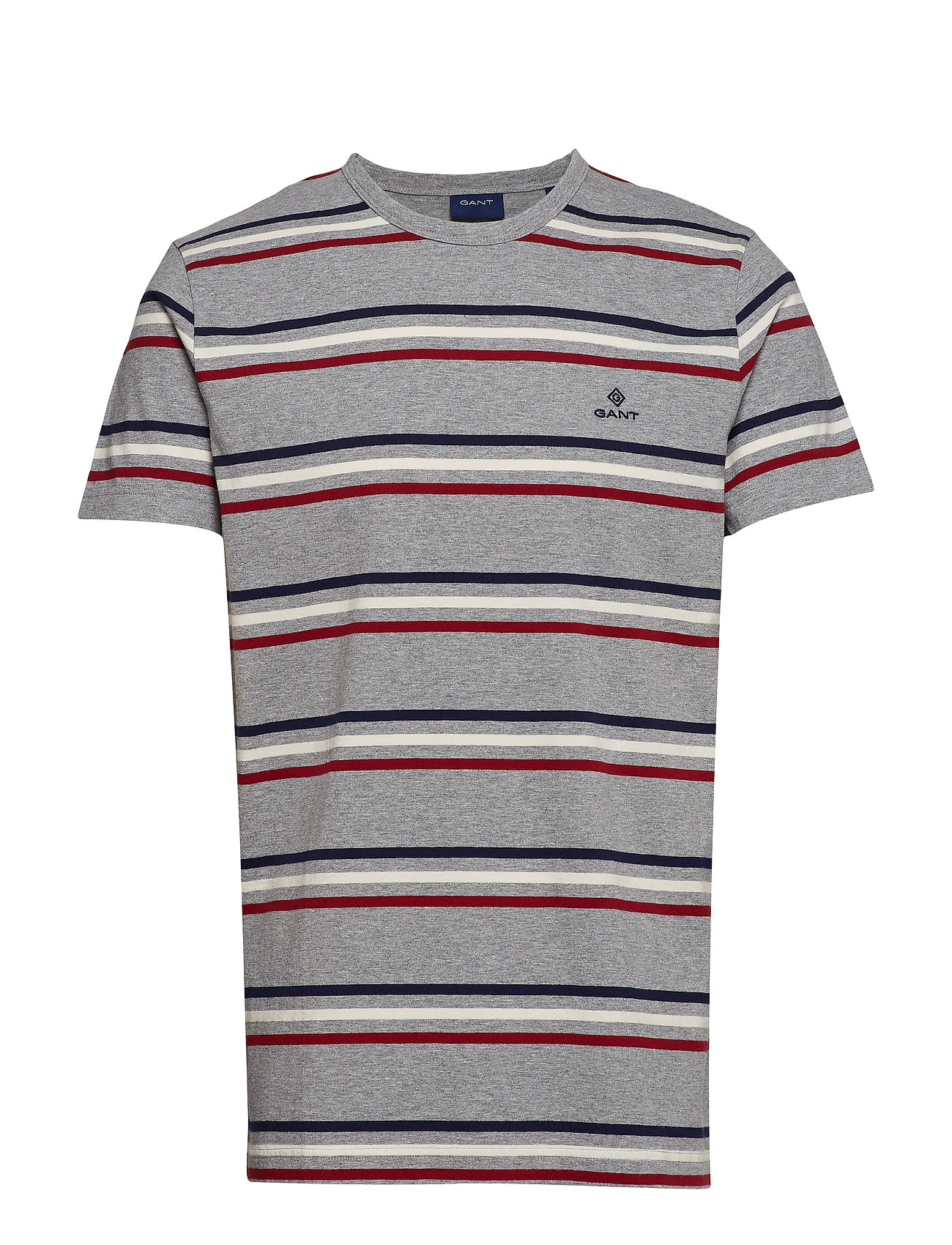 Gant D1. HEAVY JERSEY STRIPED T-SHIRT - GREY MELANGE