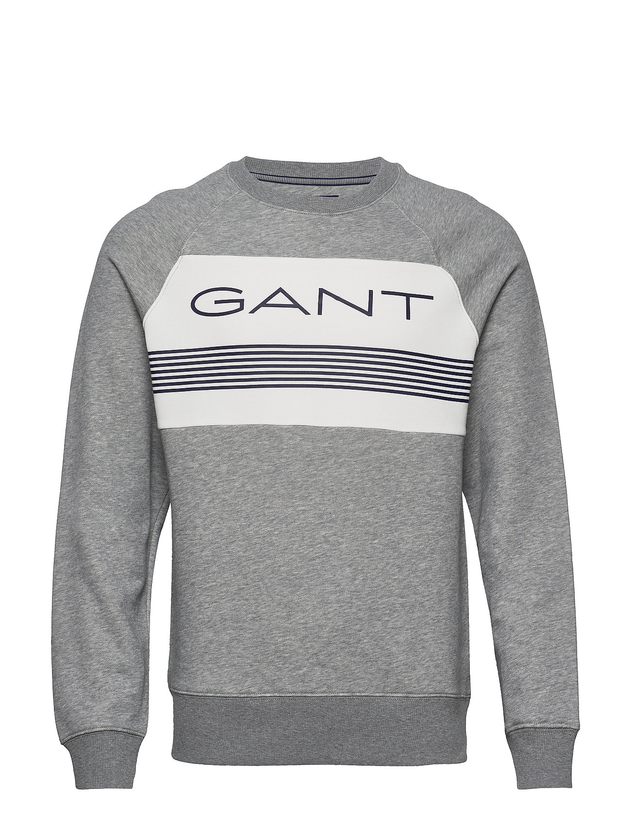 Gant D1. GANT STRIPE C-NECK SWEAT - GREY MELANGE