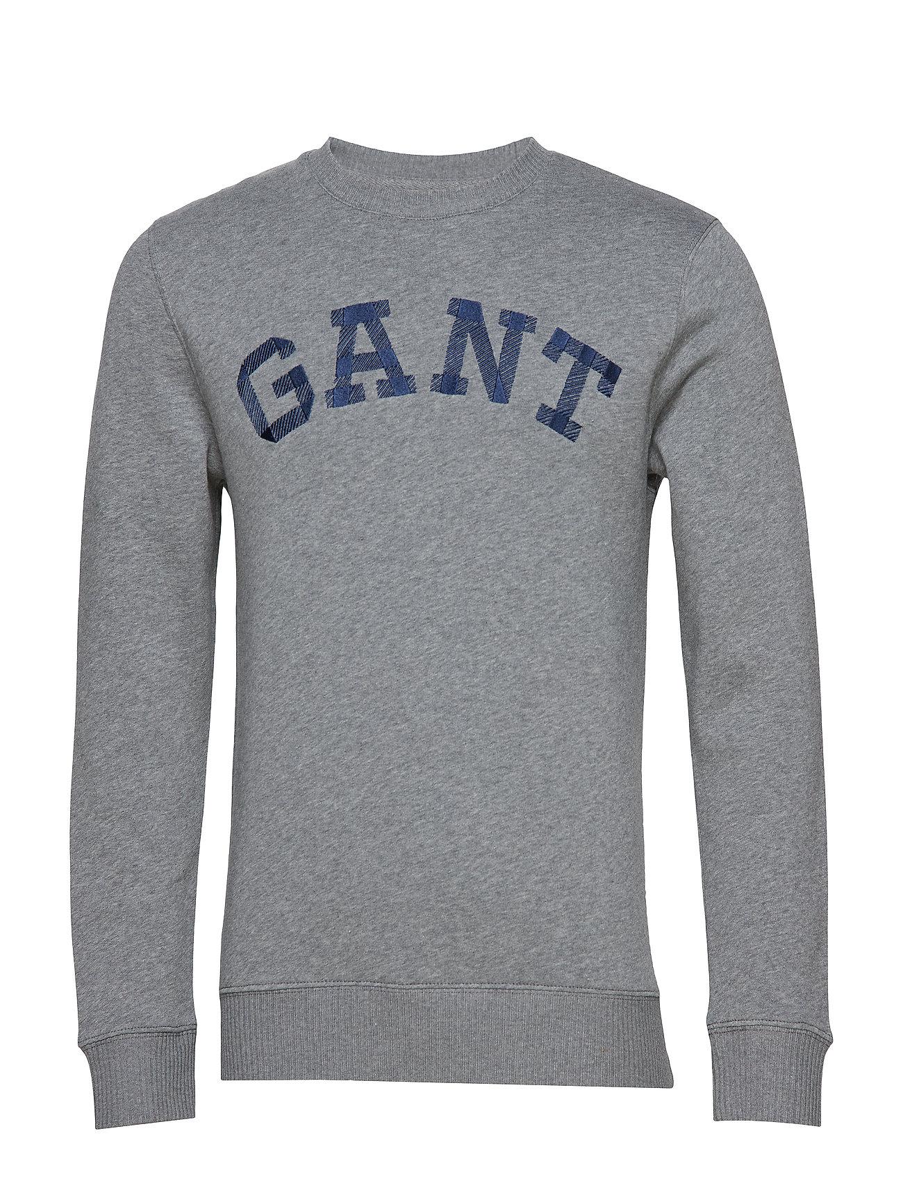 GANT O2. Contrast Backside C-Neck Sweat Strickpullover Rundhals Grau GANT