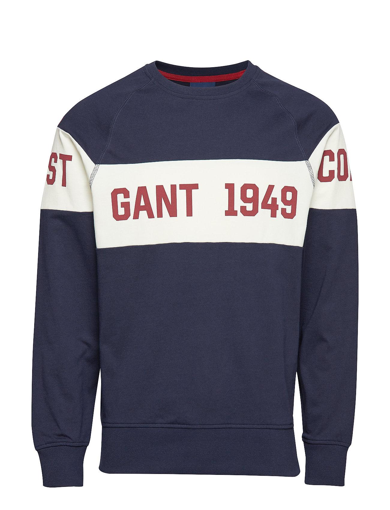 Gant SMU. GANT CHEST STRIPE C-NECK - EVENING BLUE