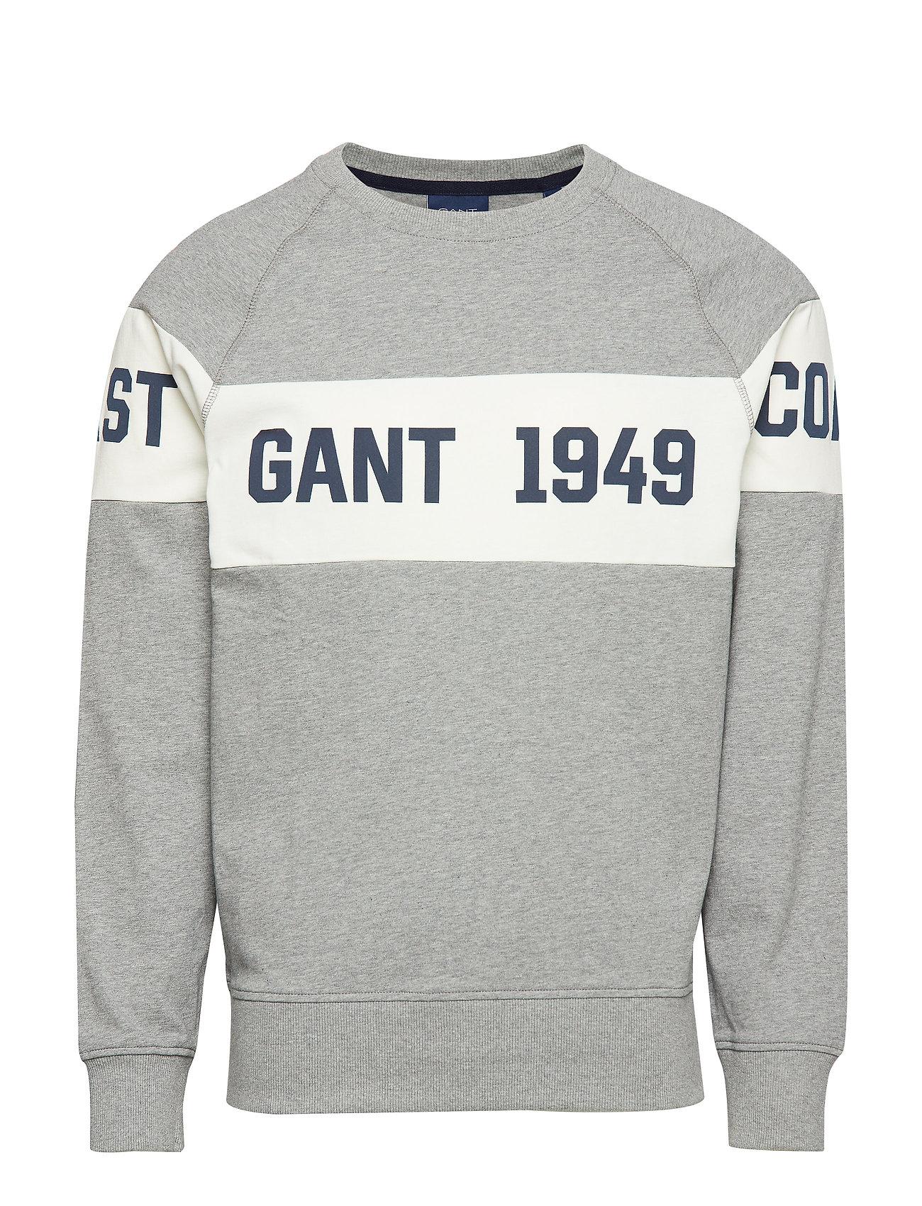 Gant SMU. GANT CHEST STRIPE C-NECK - GREY MELANGE