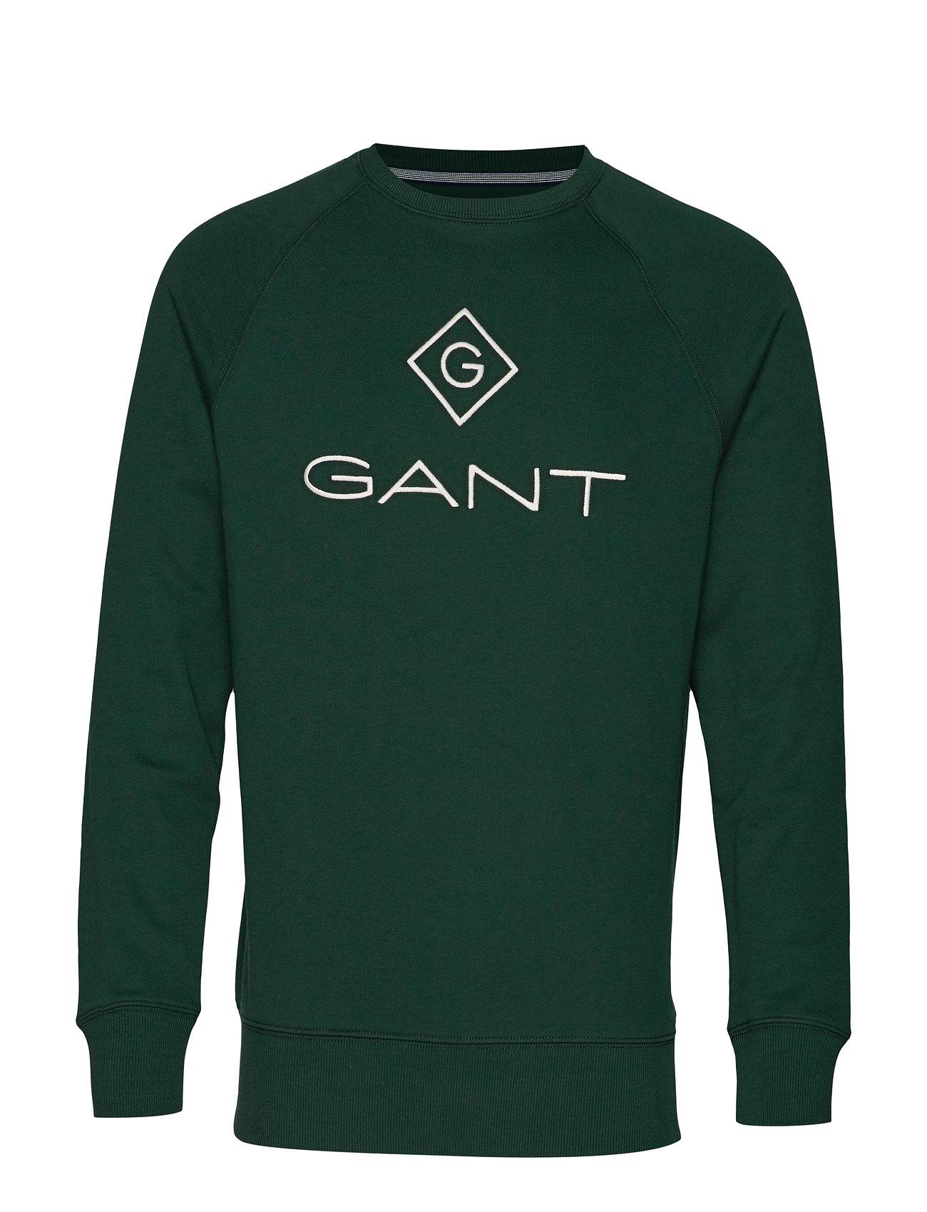 GANT LOCK UP C - NECK SWEAT - TARTAN GREEN