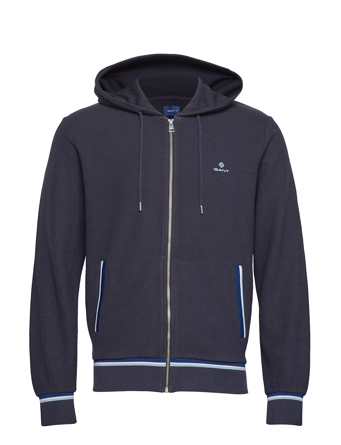 Gant O1. WAFFLE STRUCTURED FULL ZIP HOOD - EVENING BLUE