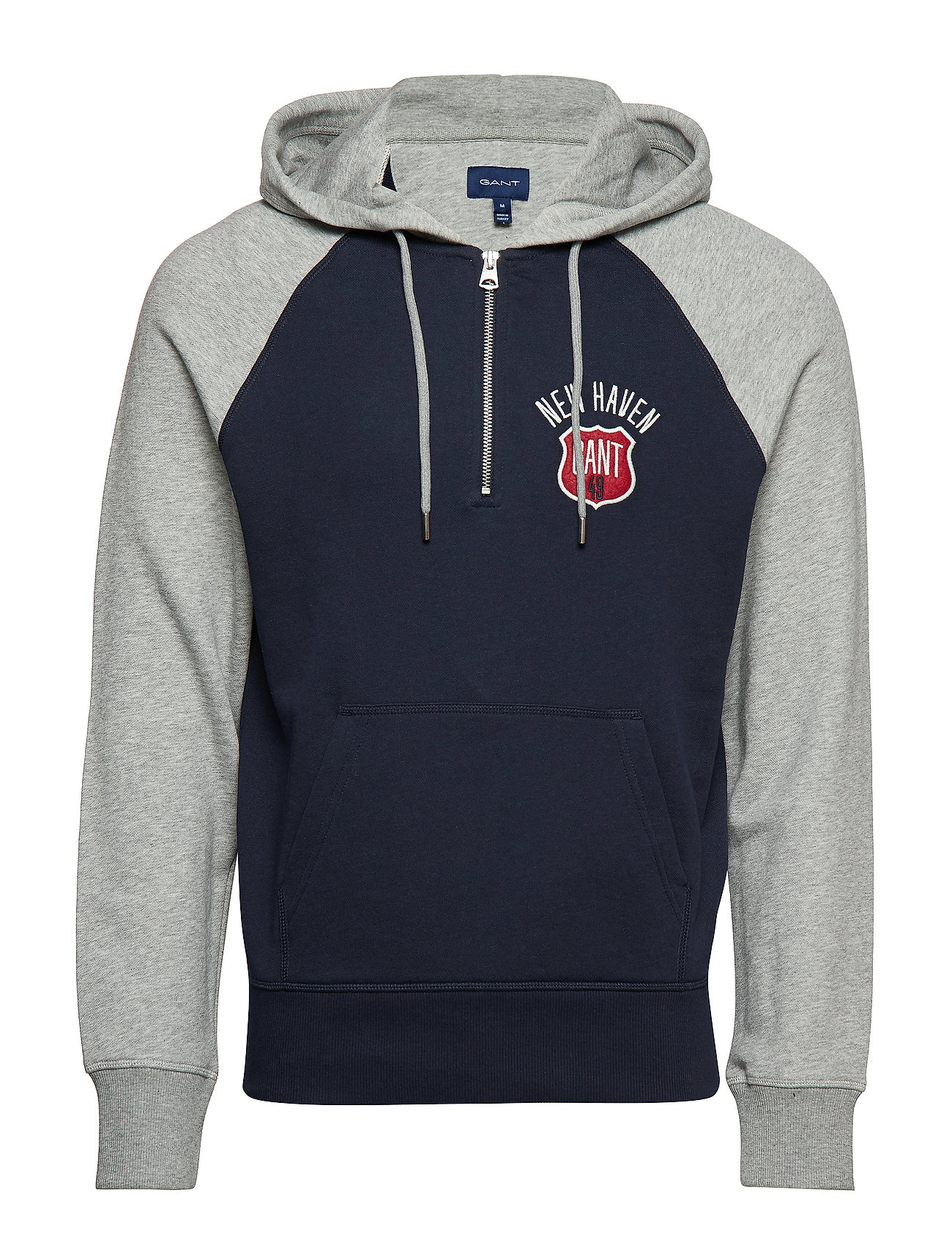 GANT D1. GRAPHIC HALF ZIP HOODIE - EVENING BLUE
