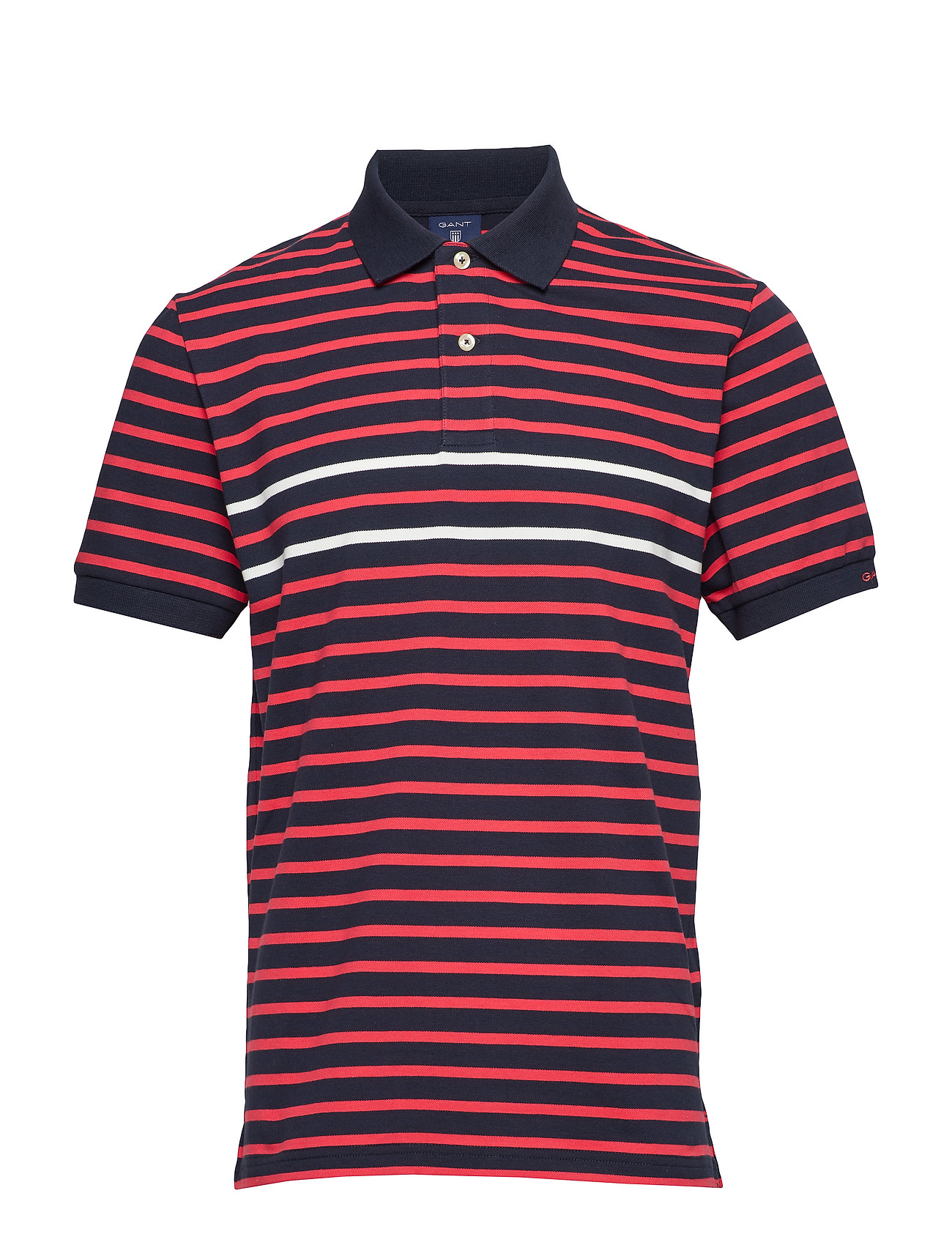 Gant O2. STRIPED SS RUGGER - WATERMELON RED
