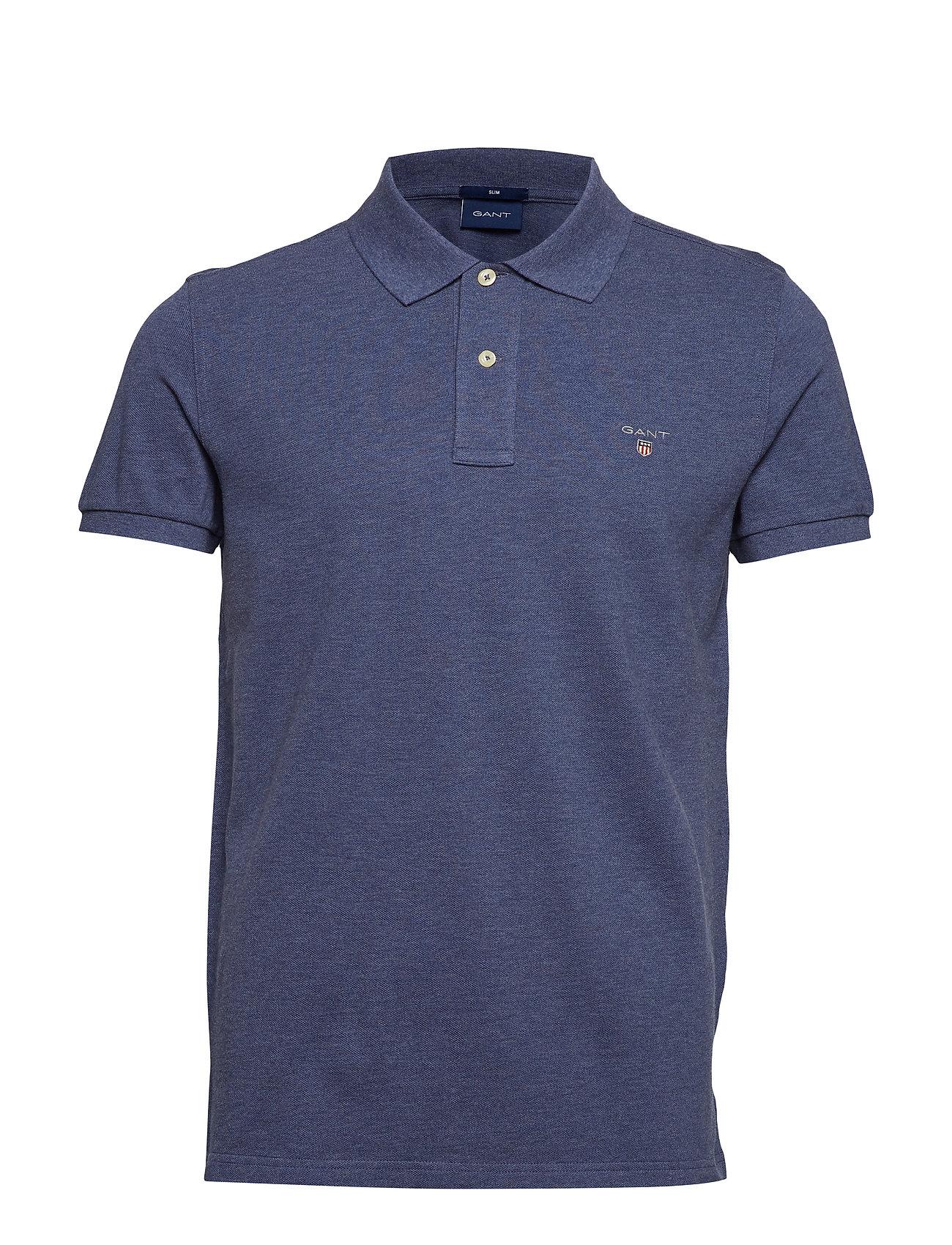 The Original Fitted Pique Ss Rugger Poloshirt Blå GANT