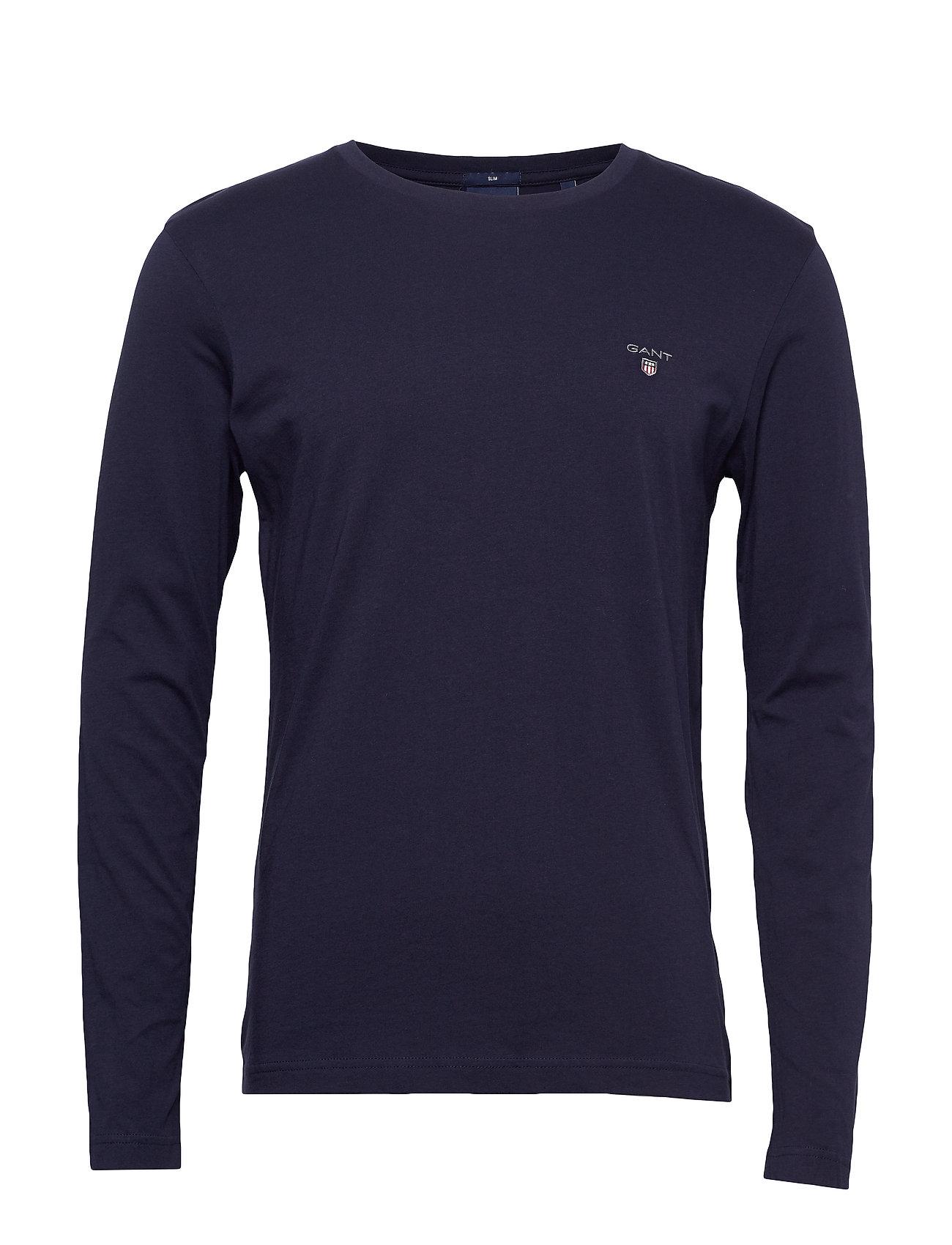 The Original Slim Ls T-Shirt T-Langærmet Skjorte Blå GANT