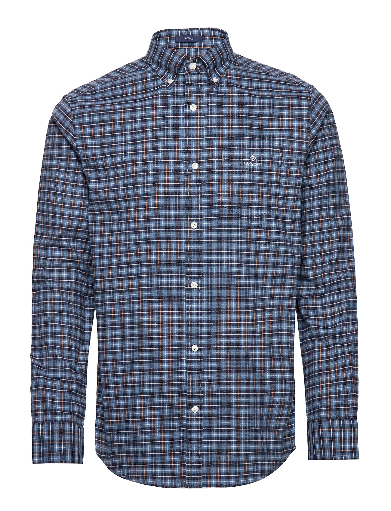 Gant D1. BRUSHED OXFORD CHECK REG BD - MARINE