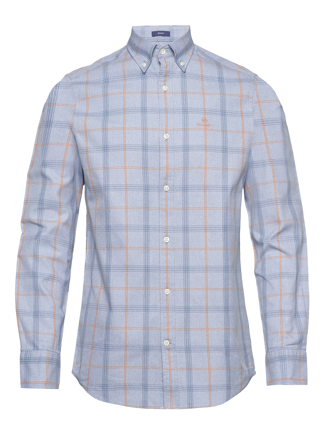 Gant D1. HEATHER OXFORD  PLAID REG BD - ATLANTIC BLUE