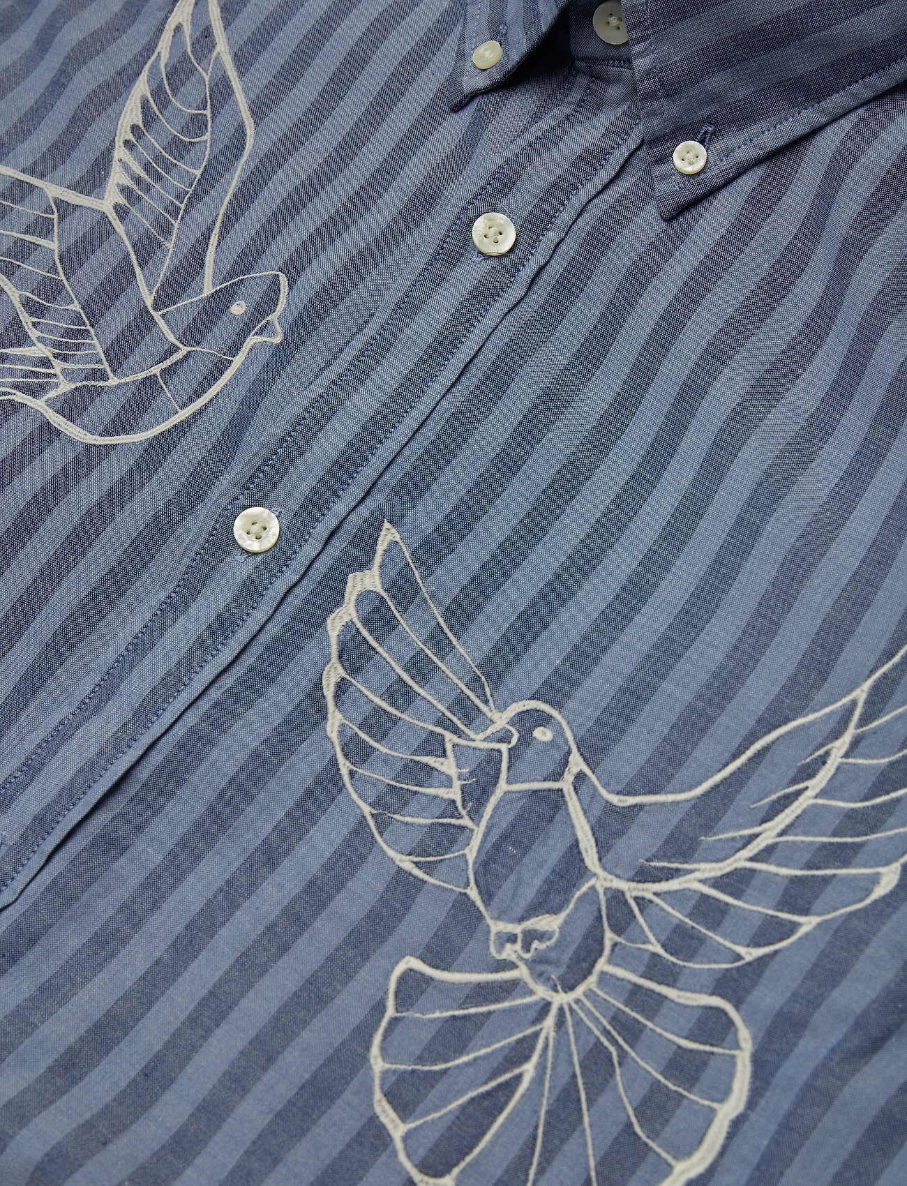 Gant R1. The Embroidered Doves Slim Bd - Skjortor Salty Sea