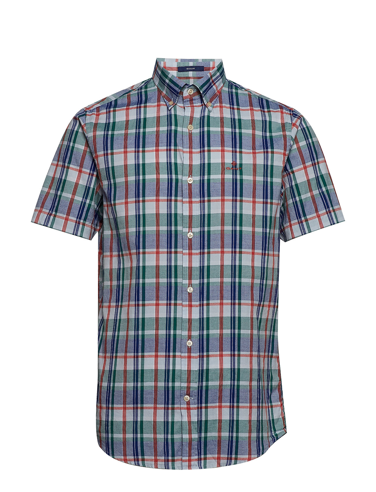 Gant D1. OXFORD PLAID REG BD SS - IVY GREEN