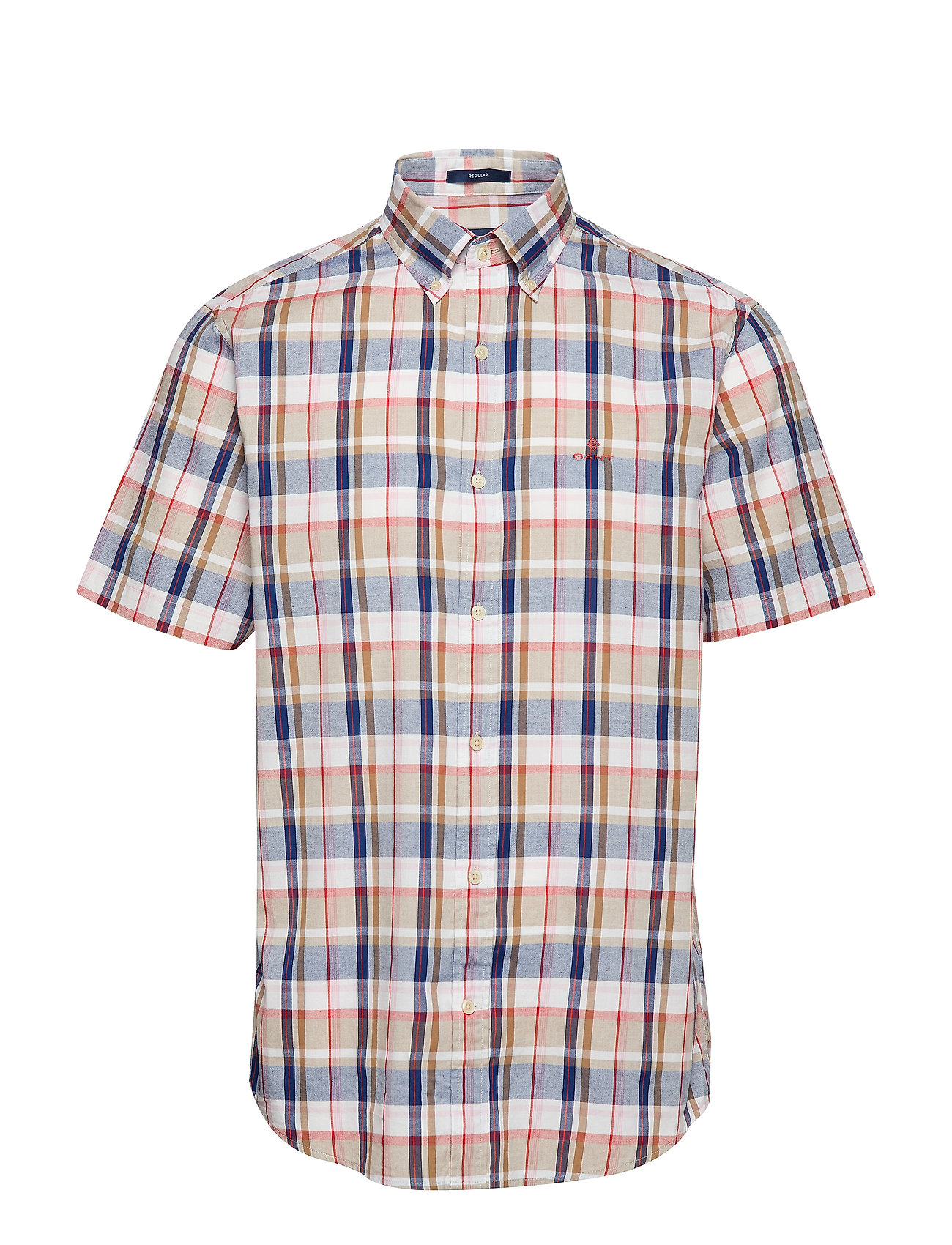 Gant D1. OXFORD PLAID REG BD SS - WARM KHAKI