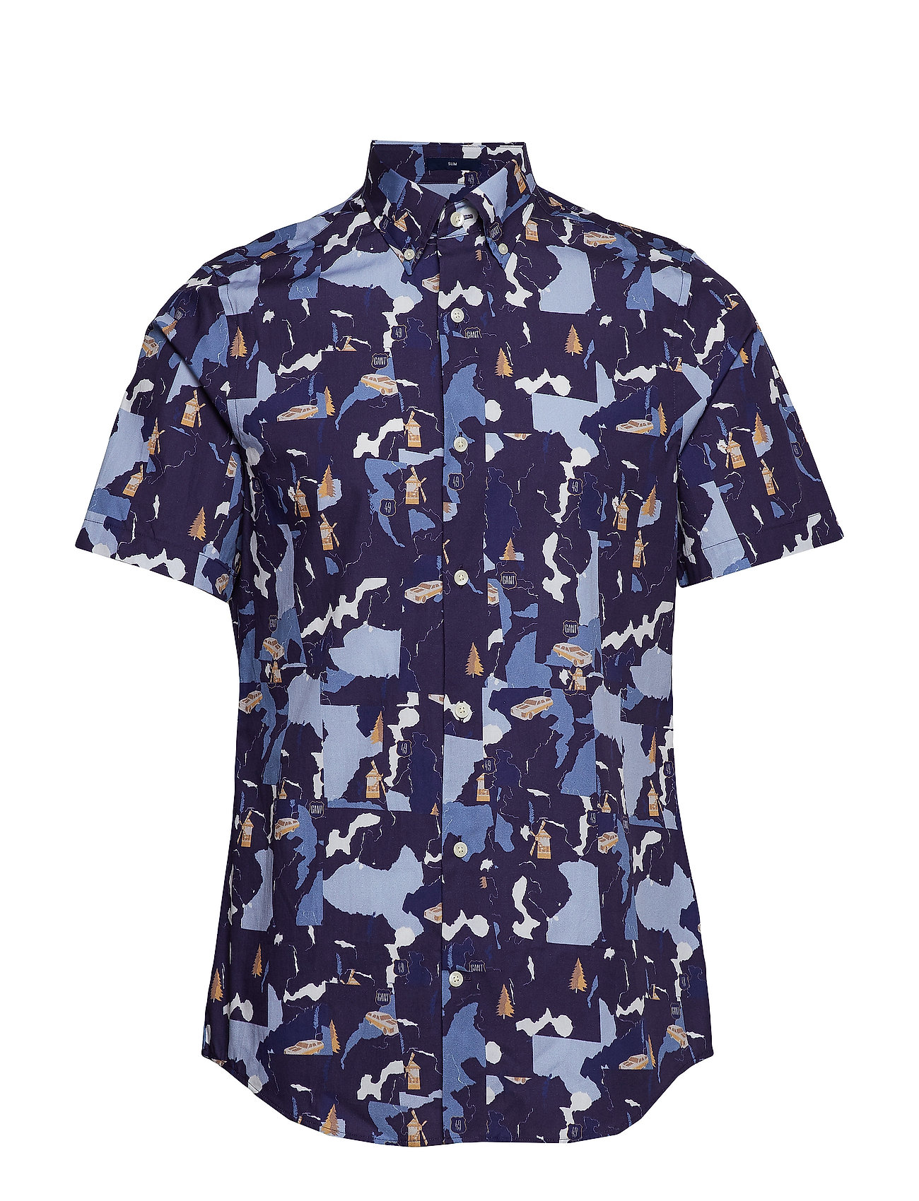 Gant D1. COLLAGE PRINT SLIM BD SS - PERSIAN BLUE