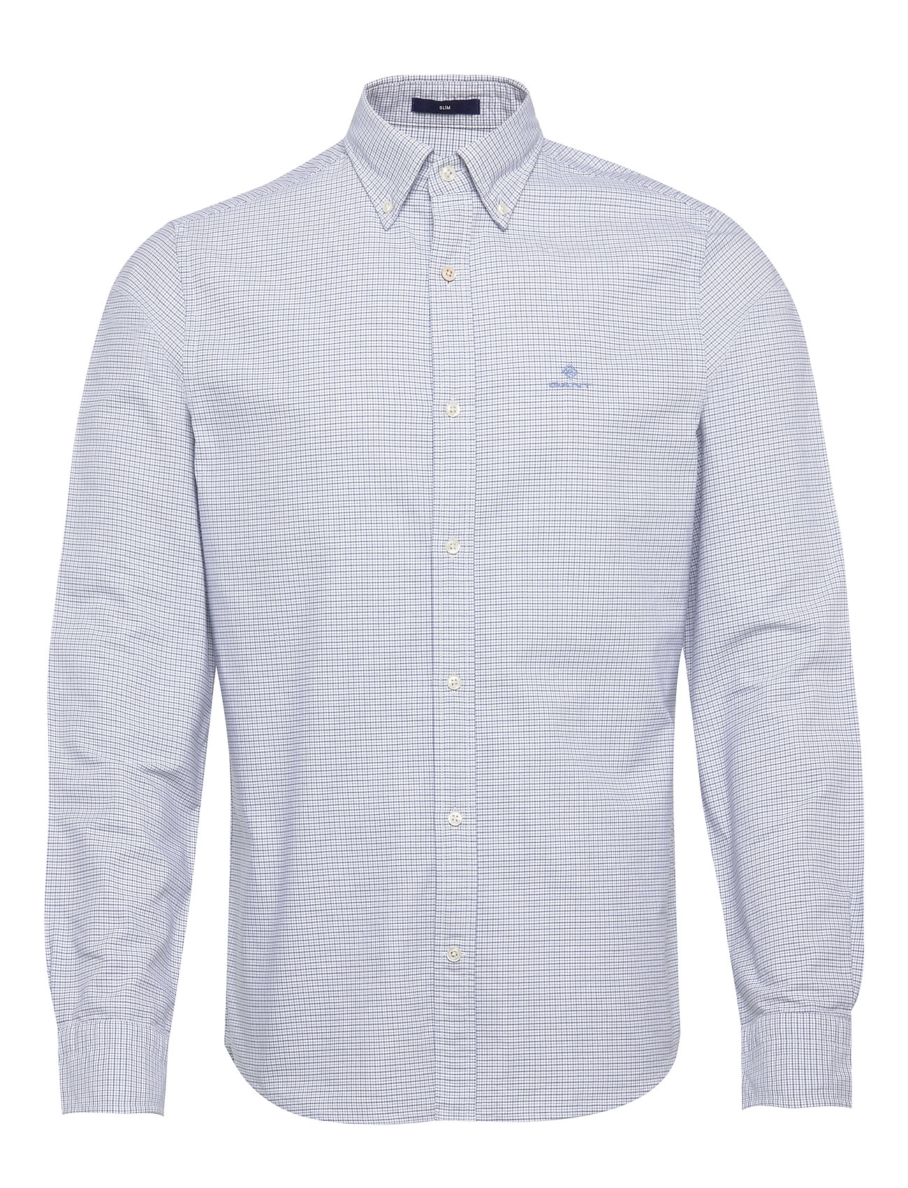 Gant D1. OXFORD MICRO CHECK SLIM BD - PACIFIC BLUE