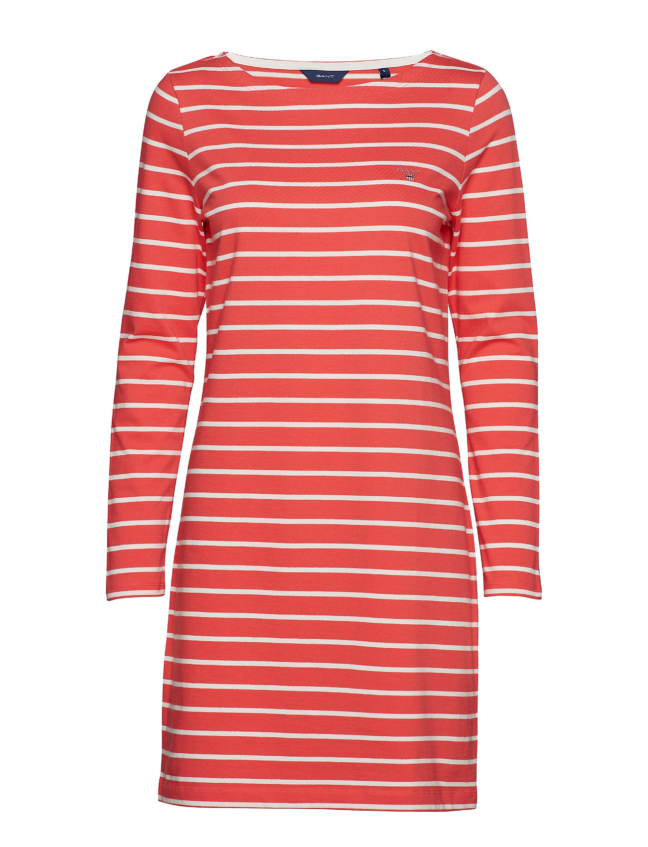 GANT BRETON STRIPE BOATNECK DRESS - WATERMELON RED