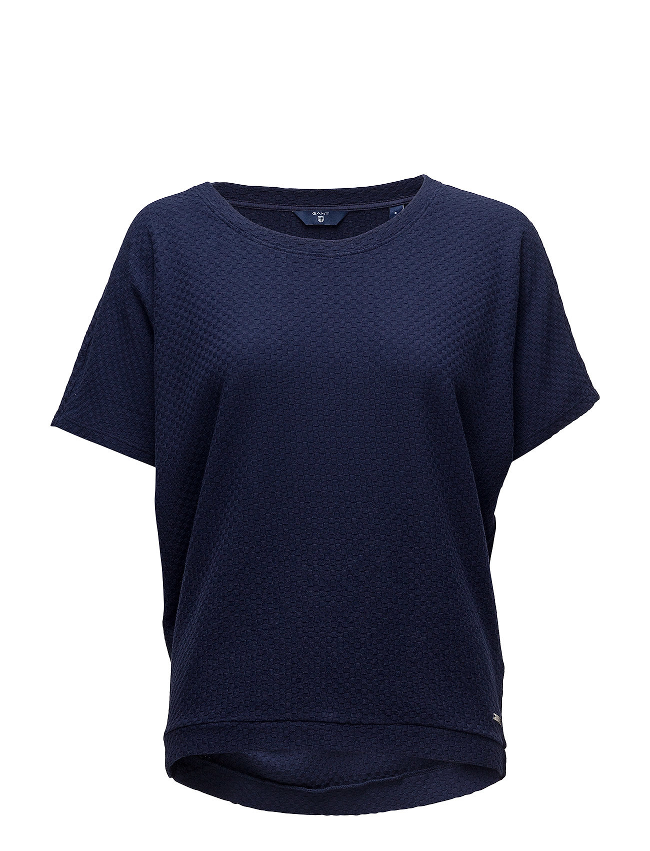 Gant O1. SMALL SQUARE PATTERN C-NECK TOP - EVENING BLUE