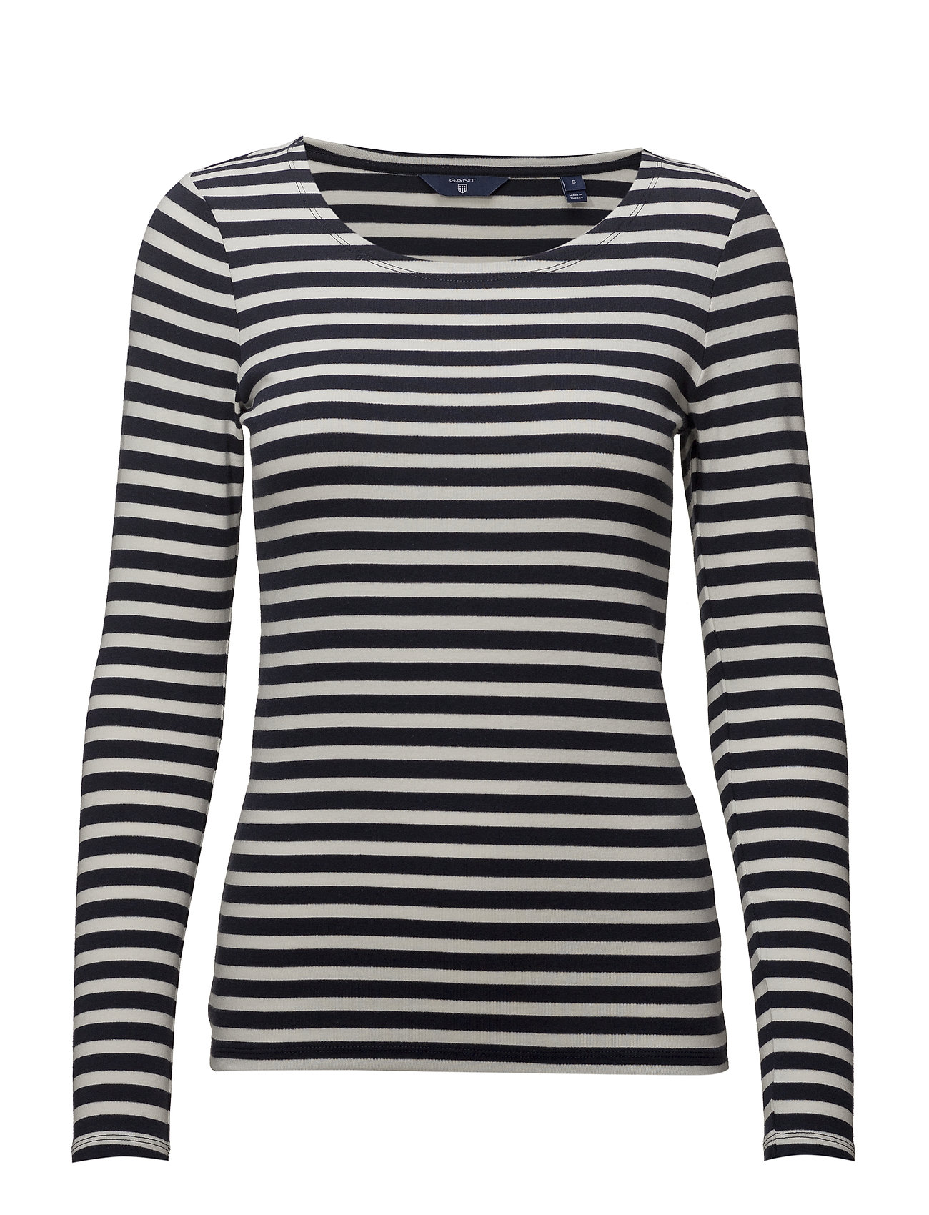 Gant 1X1 RIB LS T-SHIRT - EVENING BLUE