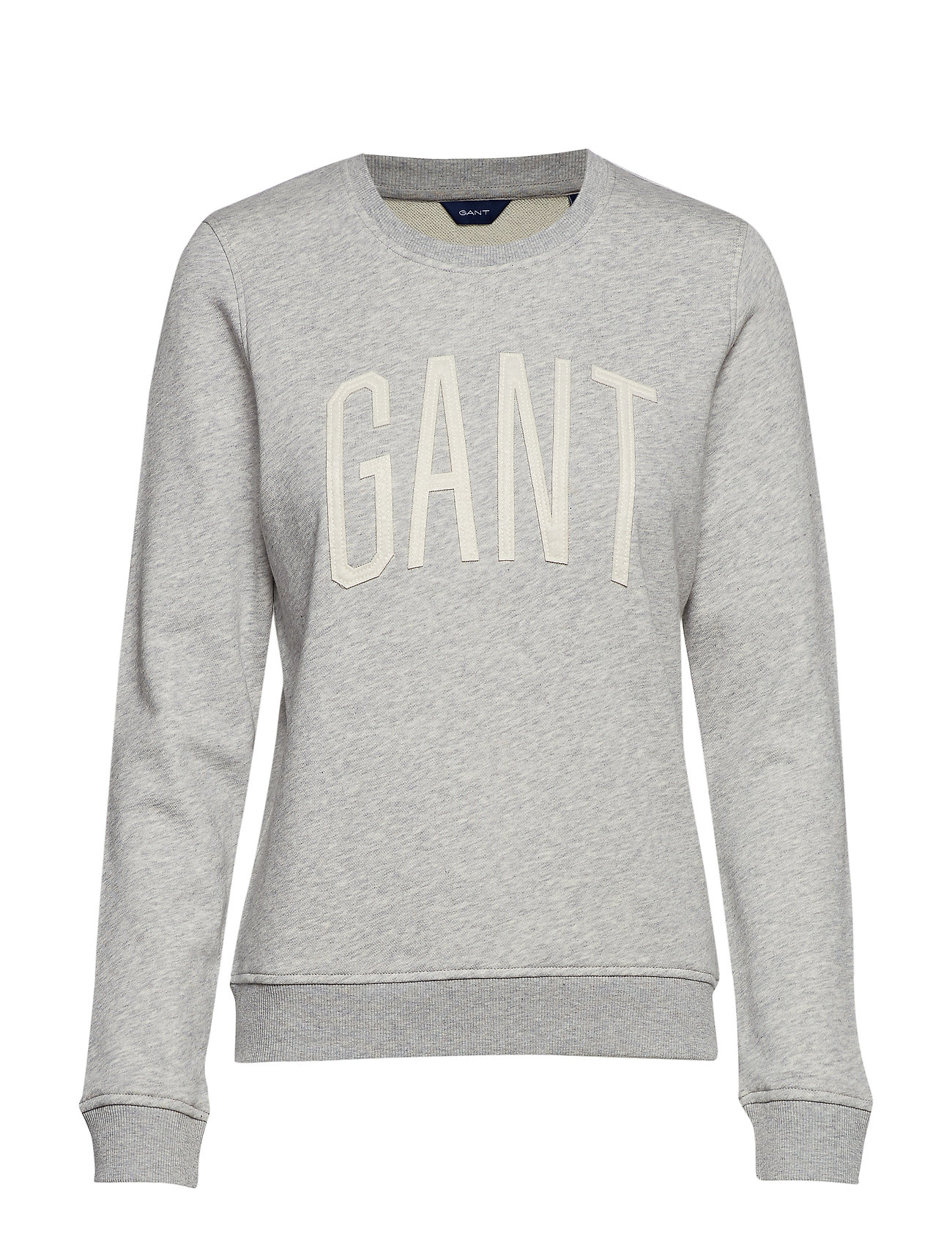 GANT D1. LOGO C-NECK SWEAT - LIGHT GREY MELANGE