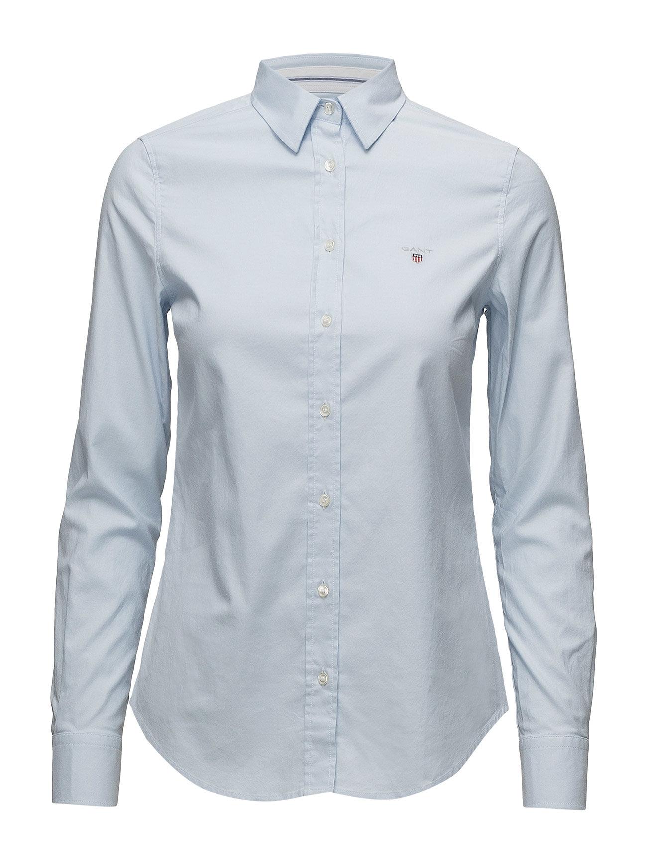 Image of Stretch Oxford Solid Slim Shirt Langærmet Skjorte Blå GANT (3117284251)