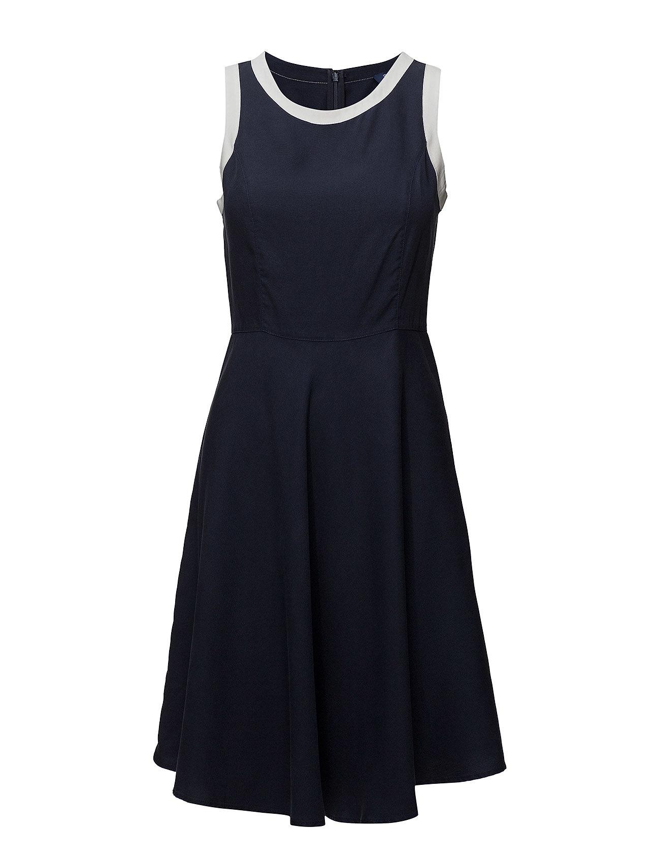 GANT Op1. Pique Lyocell Dress Kleid Knielang Blau GANT