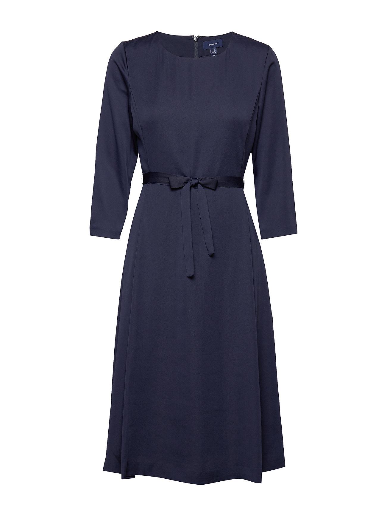 GANT D1. PREPPY STRIPE FLARED DRESS - EVENING BLUE