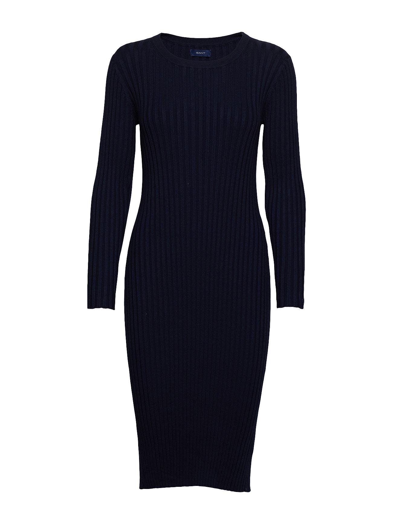 Image of D1. Rib Knitted Dress Knælang Kjole Blå Gant (3406198959)