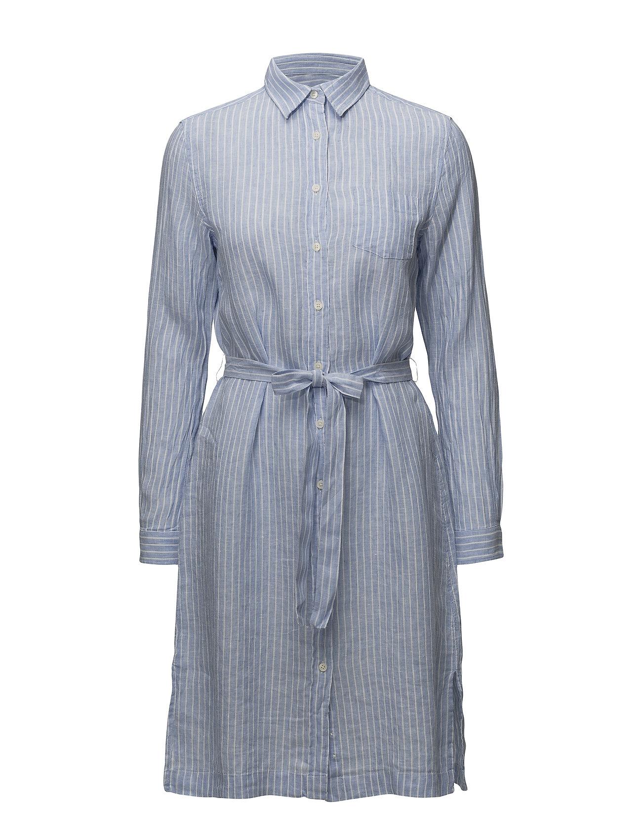 Gant O2. STRIPED LINEN SHIRT DRESS - CAPRI BLUE