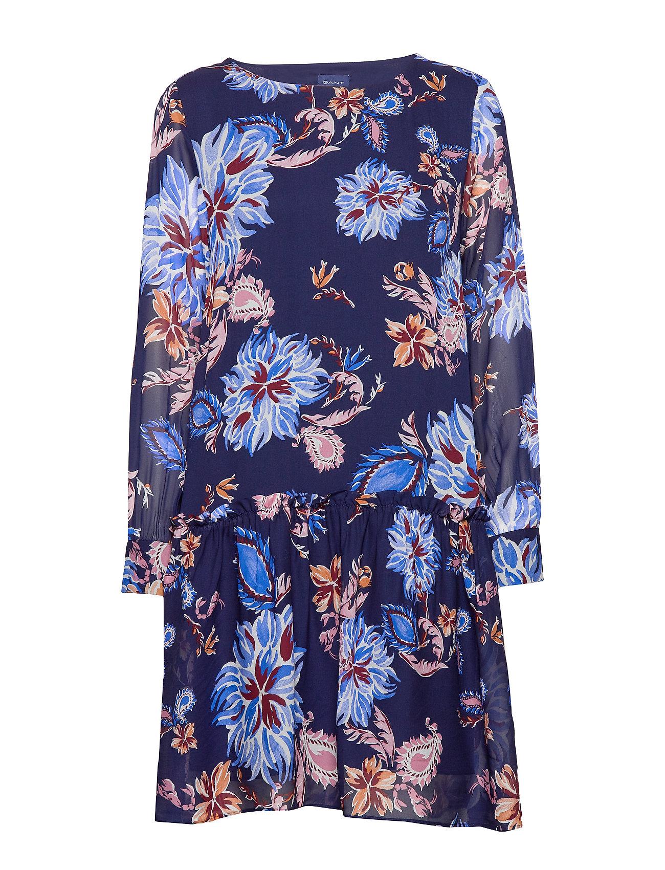 Gant D1. MARINE PAISLEY CHIFFON DRESS - PERSIAN BLUE