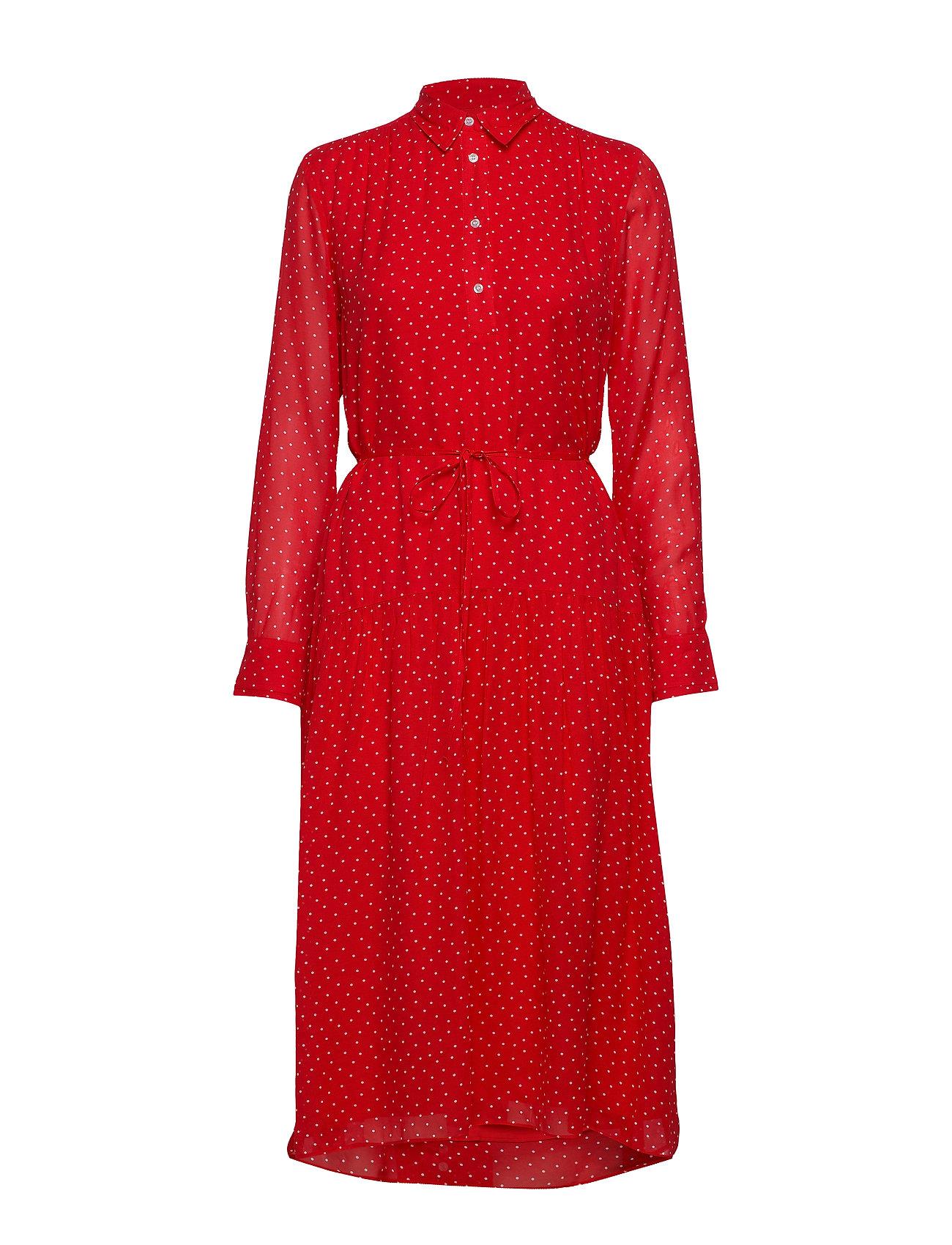Gant D1. FRENCH DOT CHIFFON DRESS - BRIGHT RED