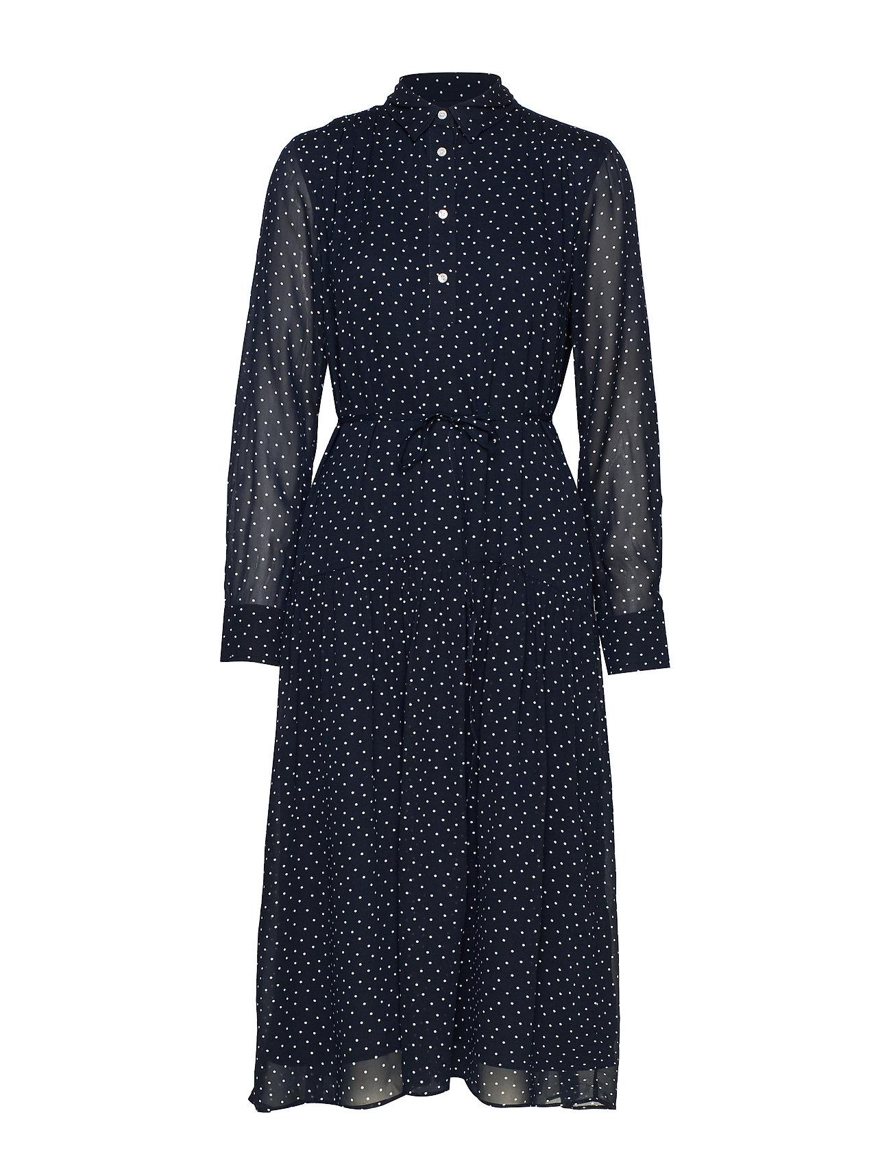 Gant D1. FRENCH DOT CHIFFON DRESS - EVENING BLUE