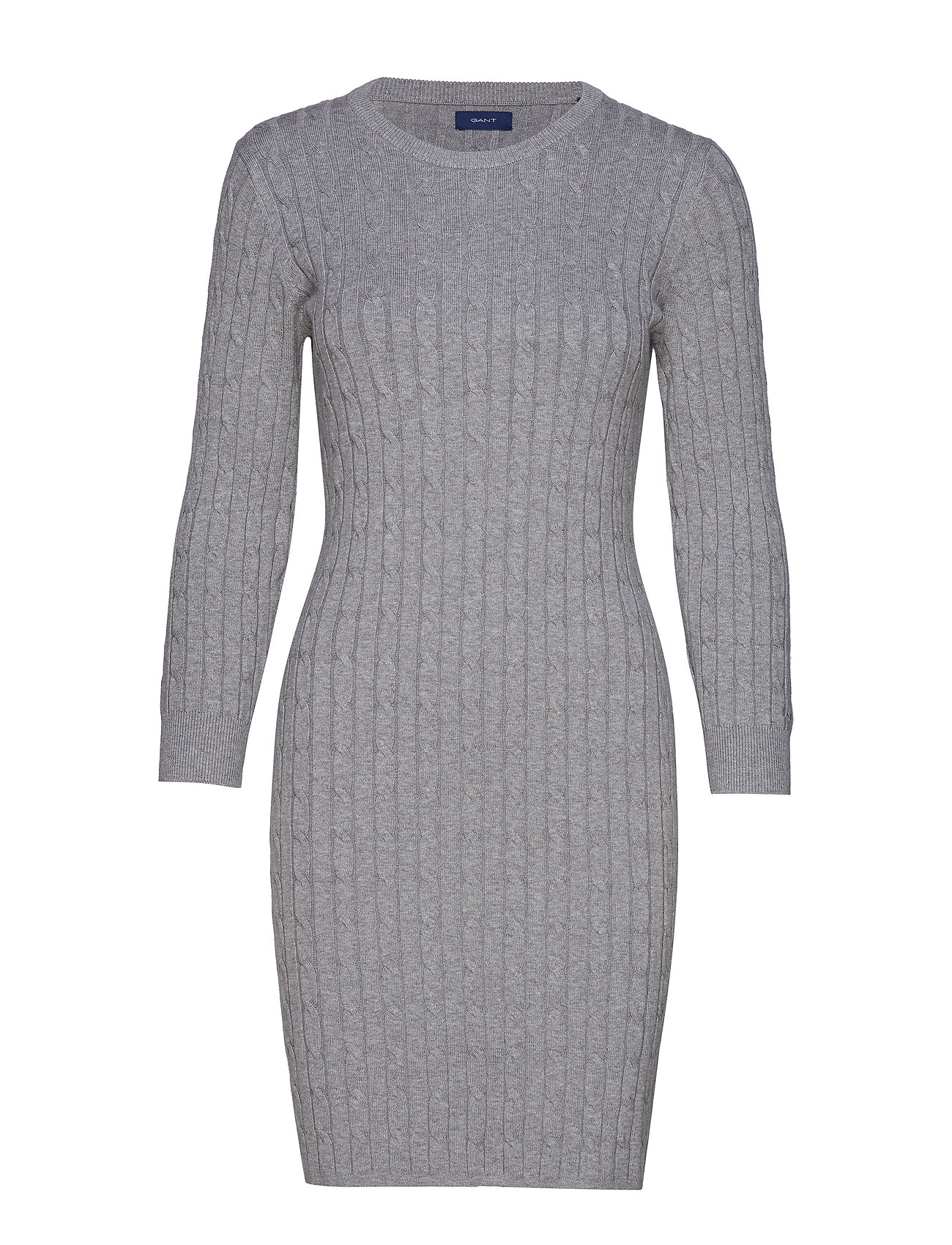 GANT STRETCH COTTON CABLE DRESS - GREY MELANGE
