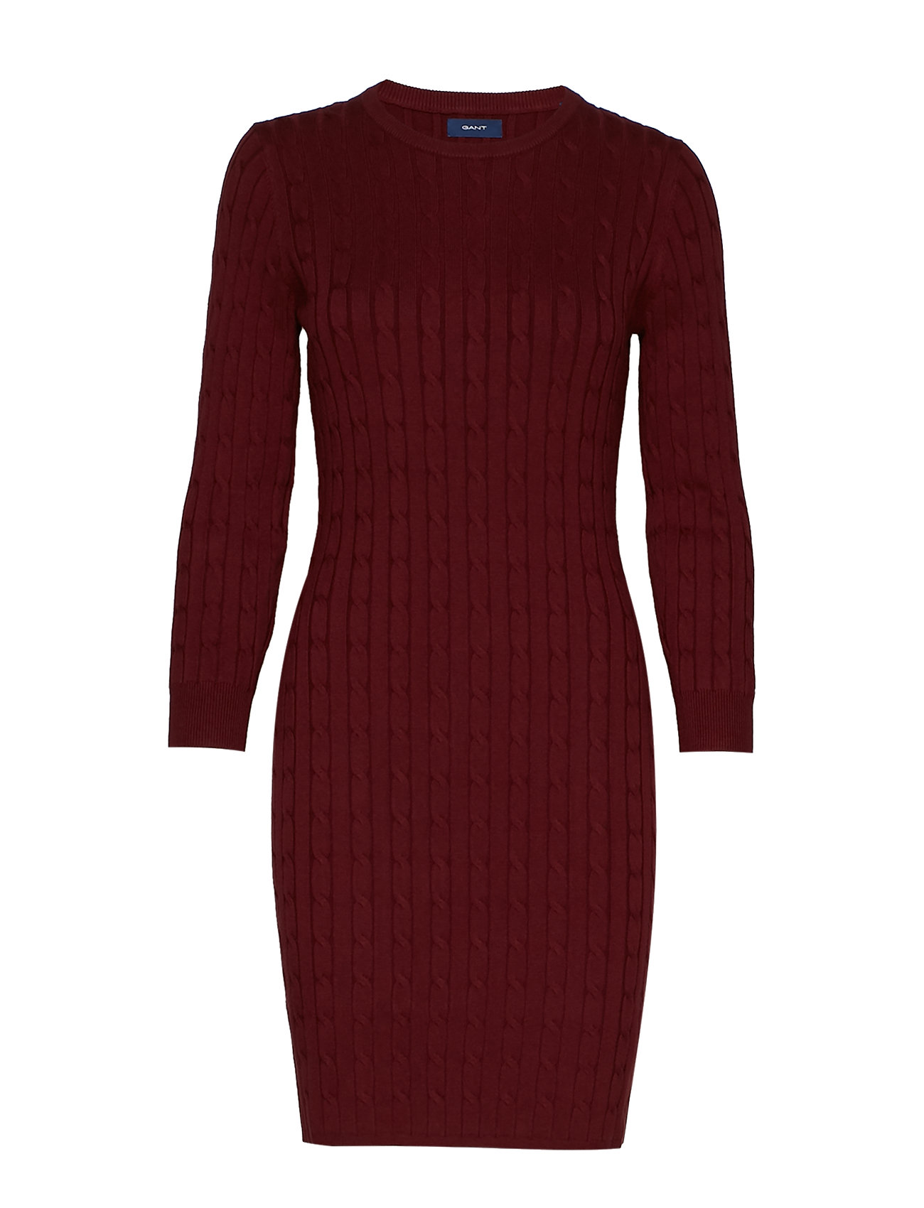 GANT STRETCH COTTON CABLE DRESS - PORT RED