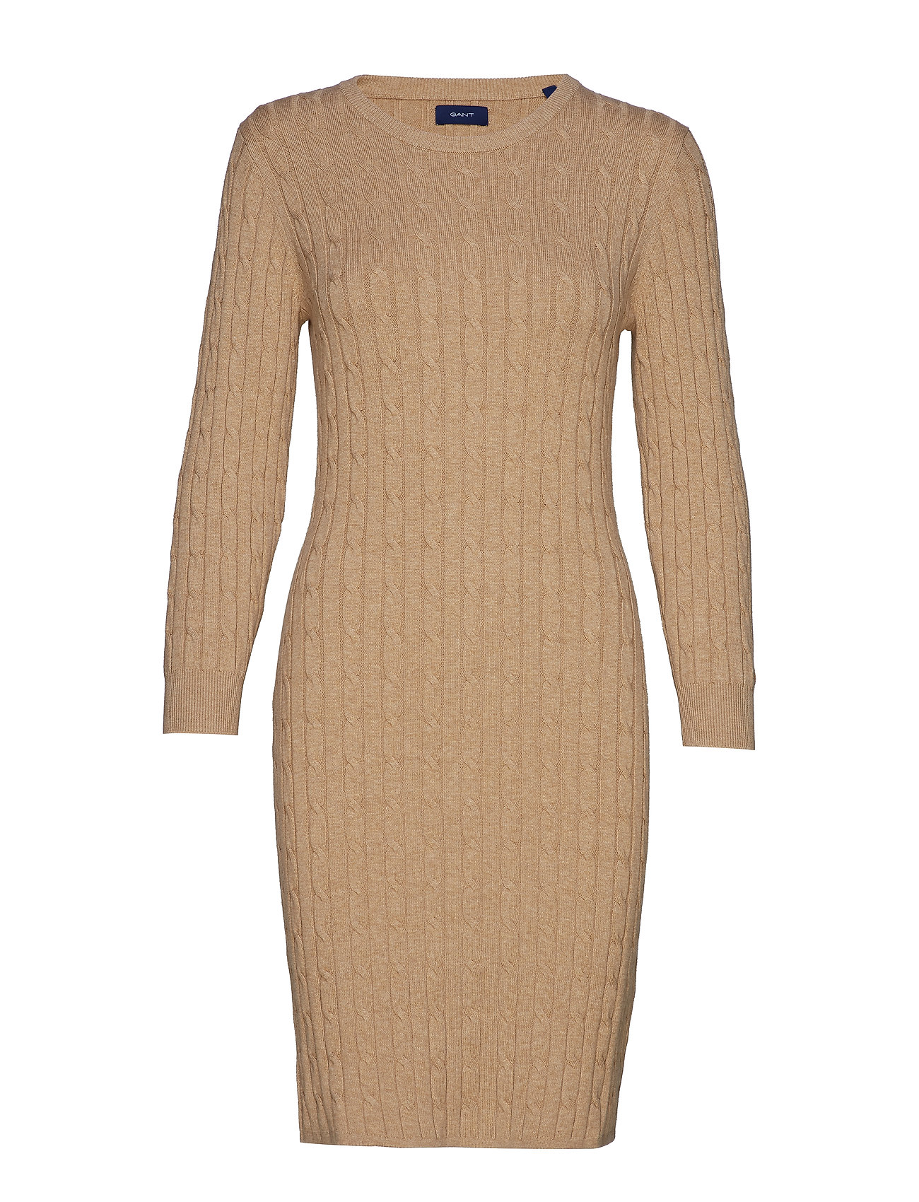 Gant STRETCH COTTON CABLE DRESS - SAND MELANGE