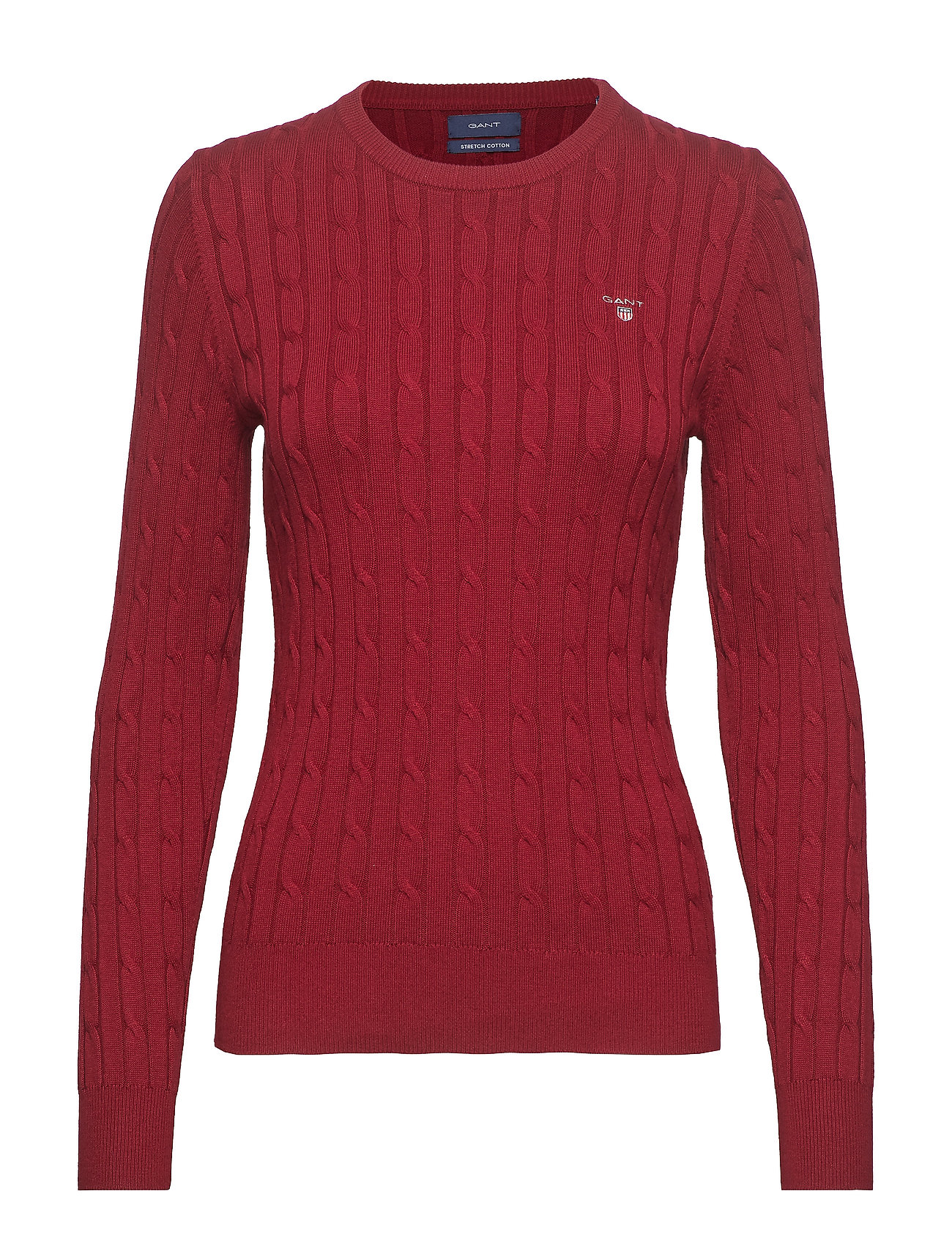 Gant STRETCH COTTON CABLE CREW - MAHOGNY RED
