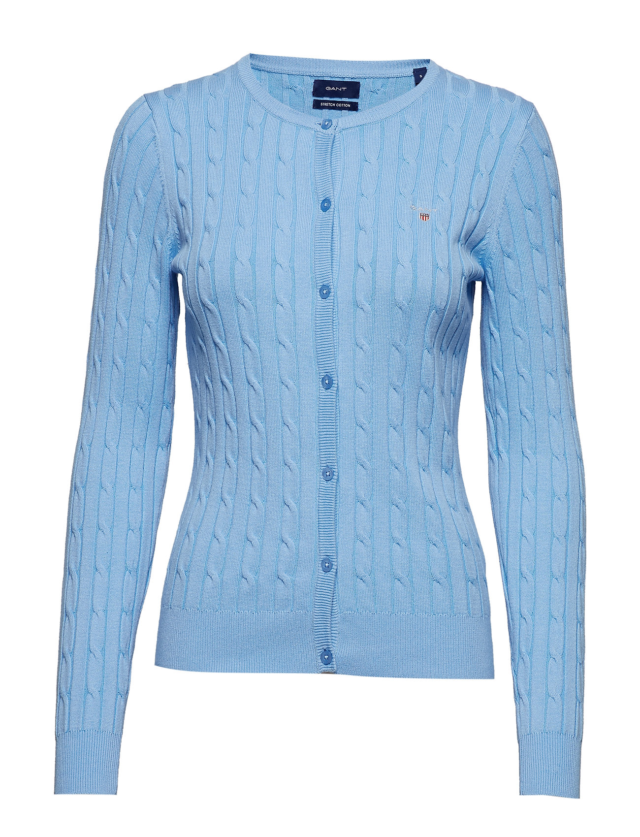 Gant STRETCH COTTON CABLE CREW CARDIGAN - CAPRI BLUE
