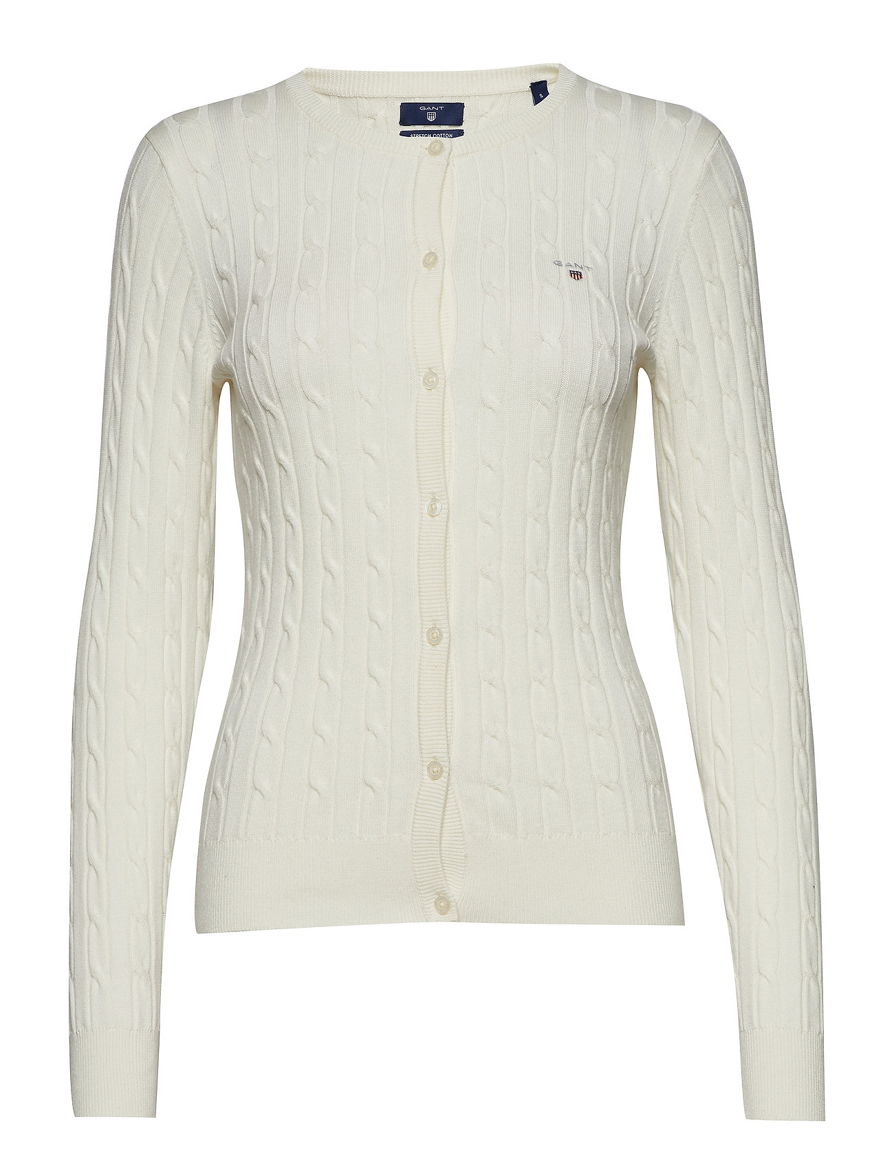 GANT STRETCH COTTON CABLE CREW CARDIGAN - EGGSHELL