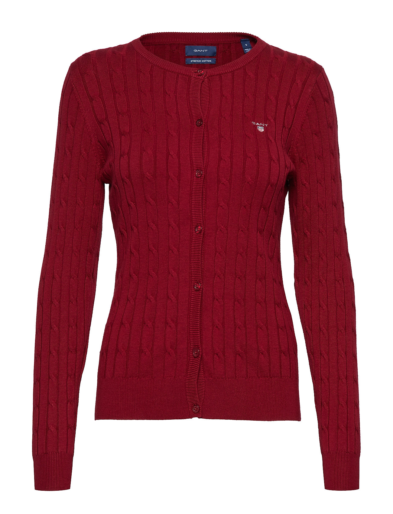 Gant STRETCH COTTON CABLE CREW CARDIGAN - MAHOGNY RED