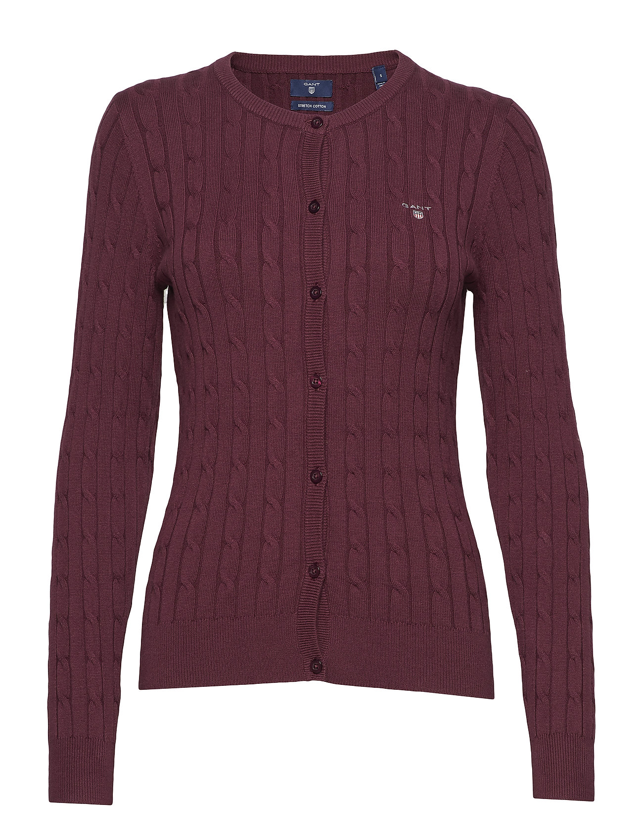 GANT Stretch Cotton Cable Crew Cardigan (Purple Fig) 1747ecb564e9