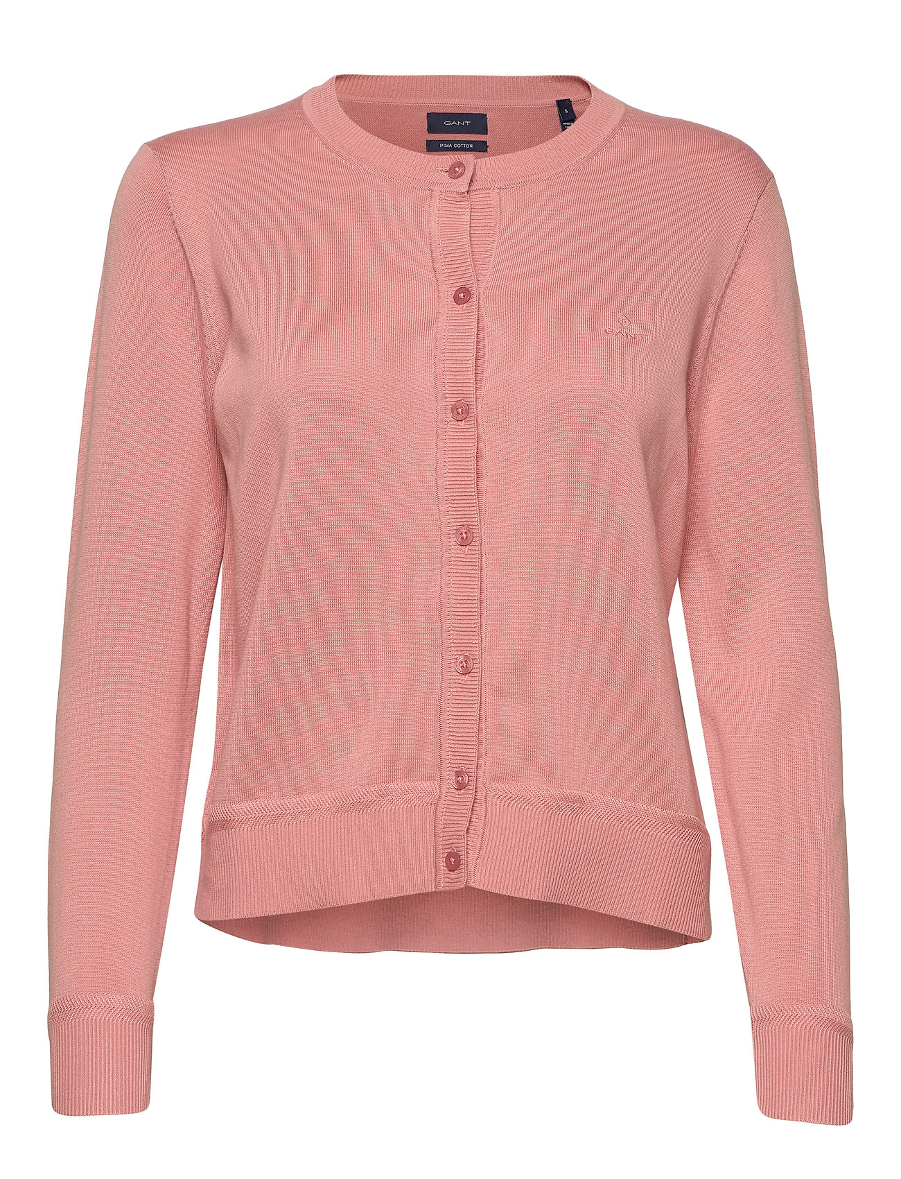 Gant LIGHT COTTON CREW CARDIGAN - SUMMER ROSE