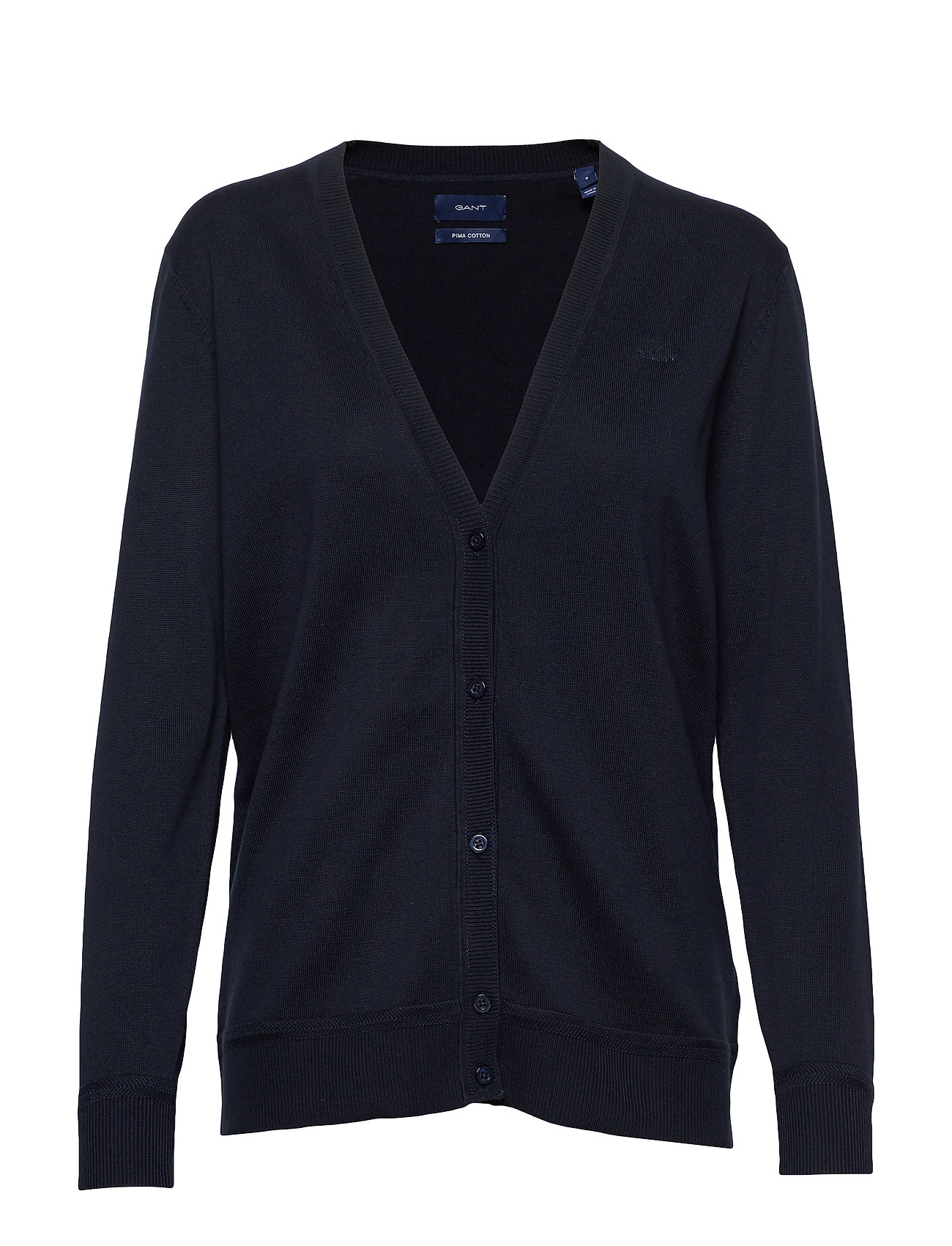 Gant LIGHT COTTON VNECK CARDIGAN - EVENING BLUE