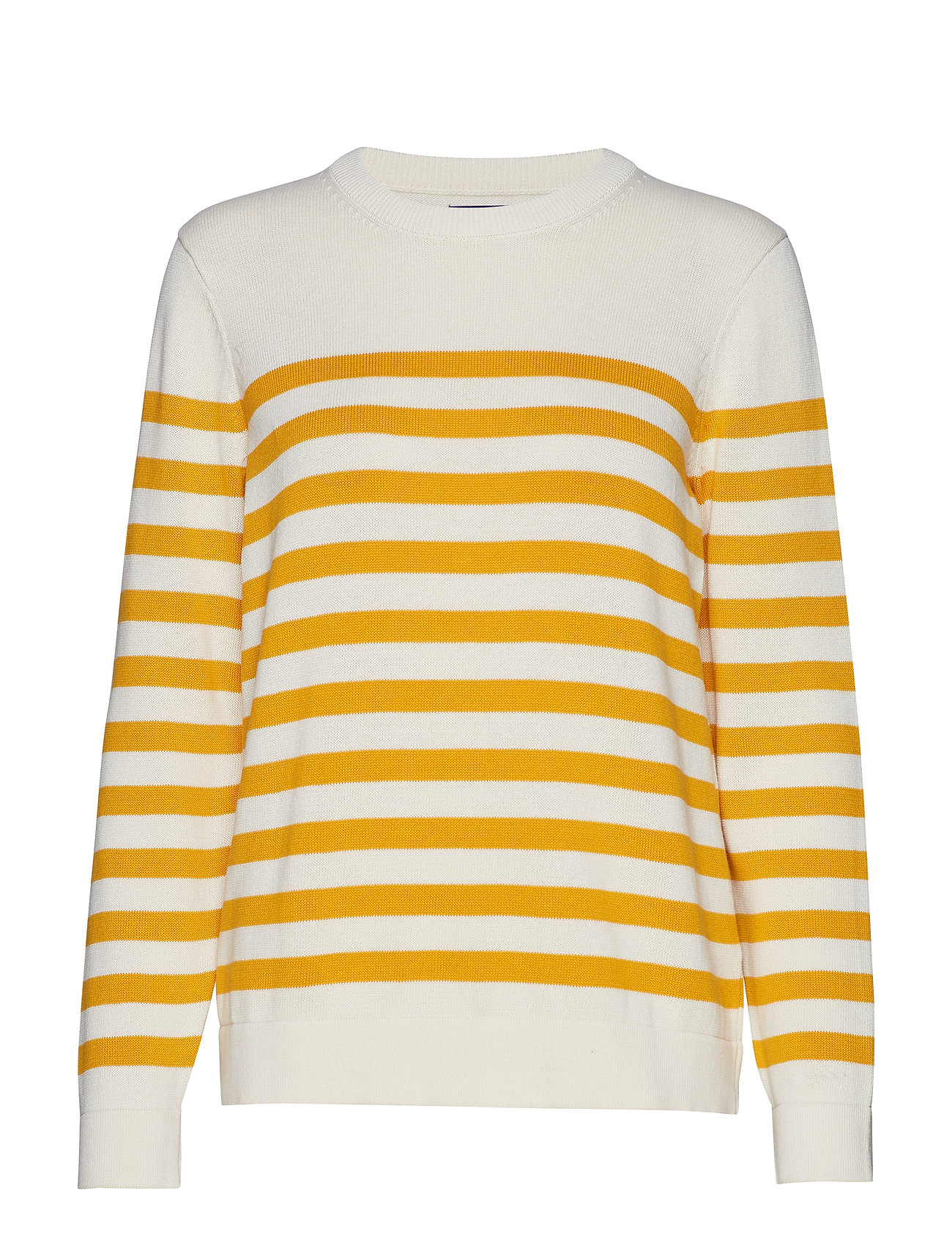 GANT D1. STRIPED COTTON CREW - CREAM