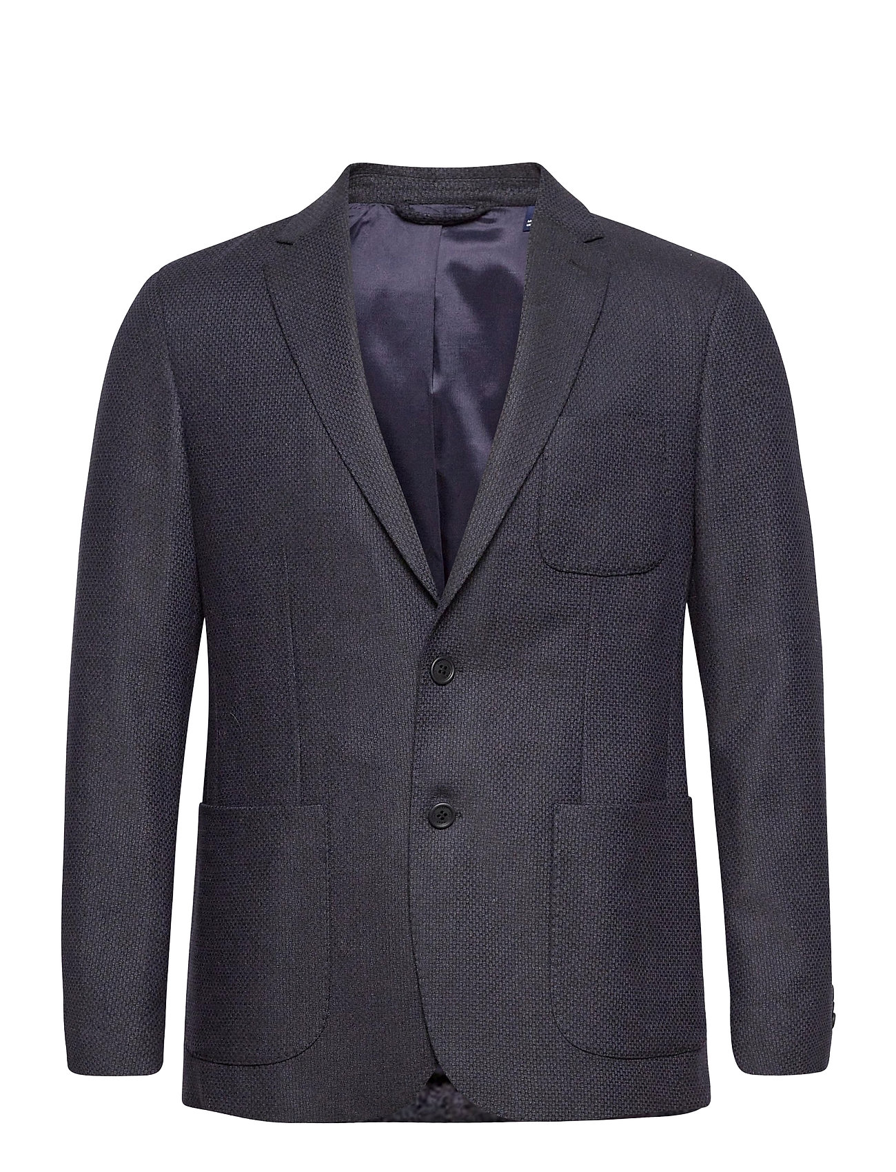 Image of D1. Slim Structured Flannel Blazer Blazer Jakke Blå GANT (3489428691)