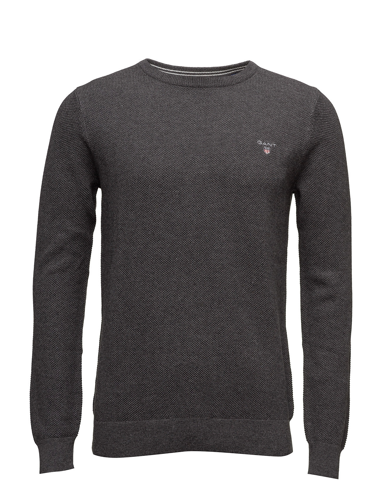 GANT COTTON PIQUE CREW - ANTRACIT MELANGE