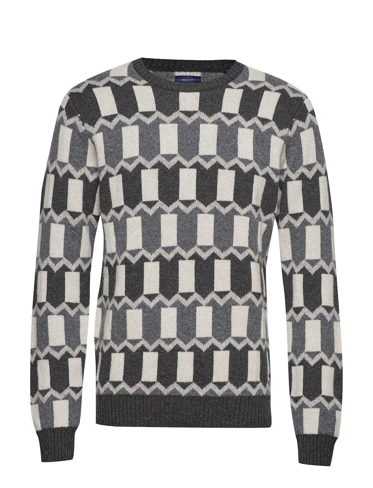 GANT D2. HOLIDAY ALLOVER FAIRISLE CREW - DK CHARCOAL MELANGE